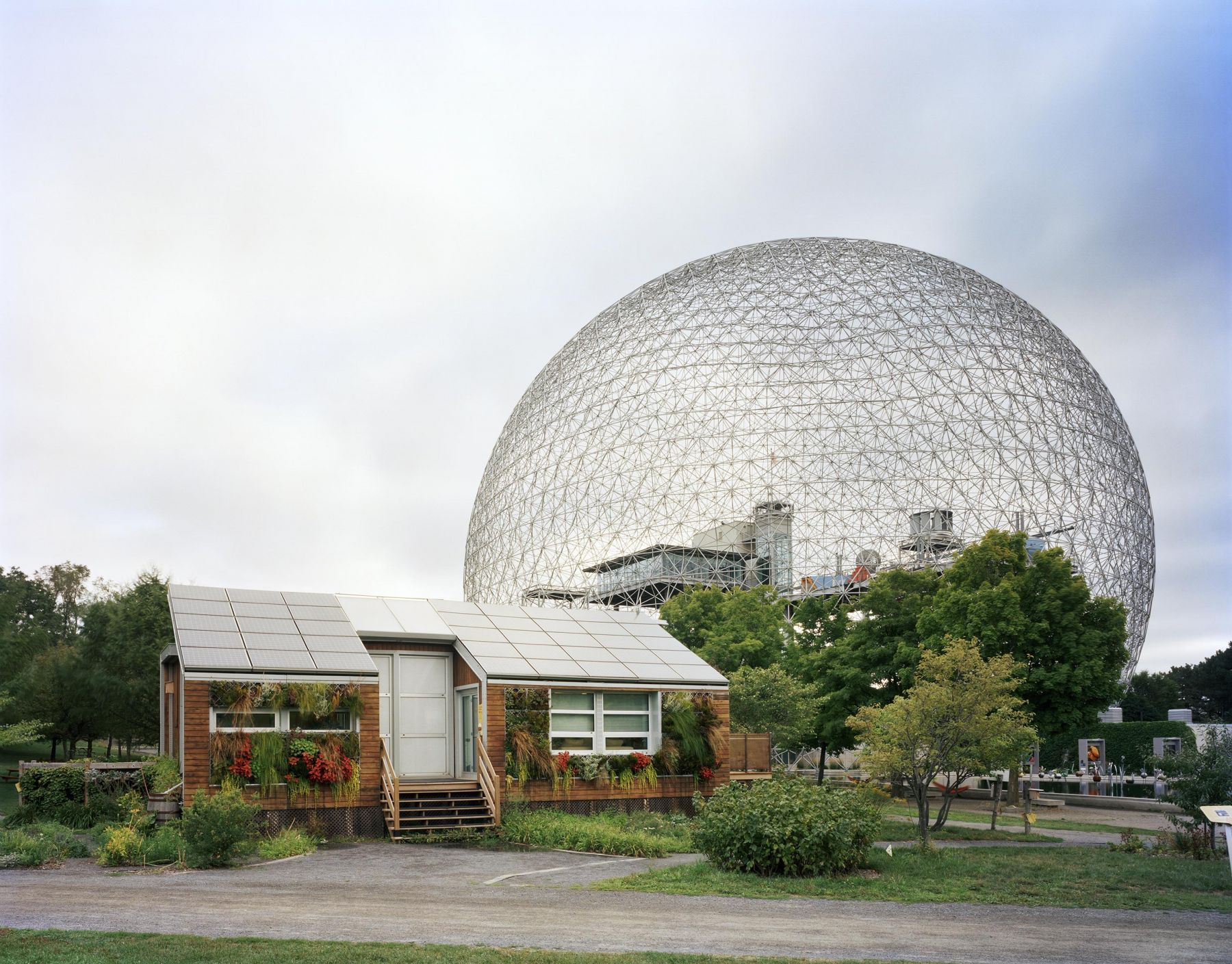 Jade Doskow  Montreal 1967 World's Fair, Man and His World, Buckminster Fuller's Geodesic Dome with Solar Experimental House, 2012  Archival Pigment Print  40h x 50w in, Photographs, Fine Art, Contemporary Art, Asheville