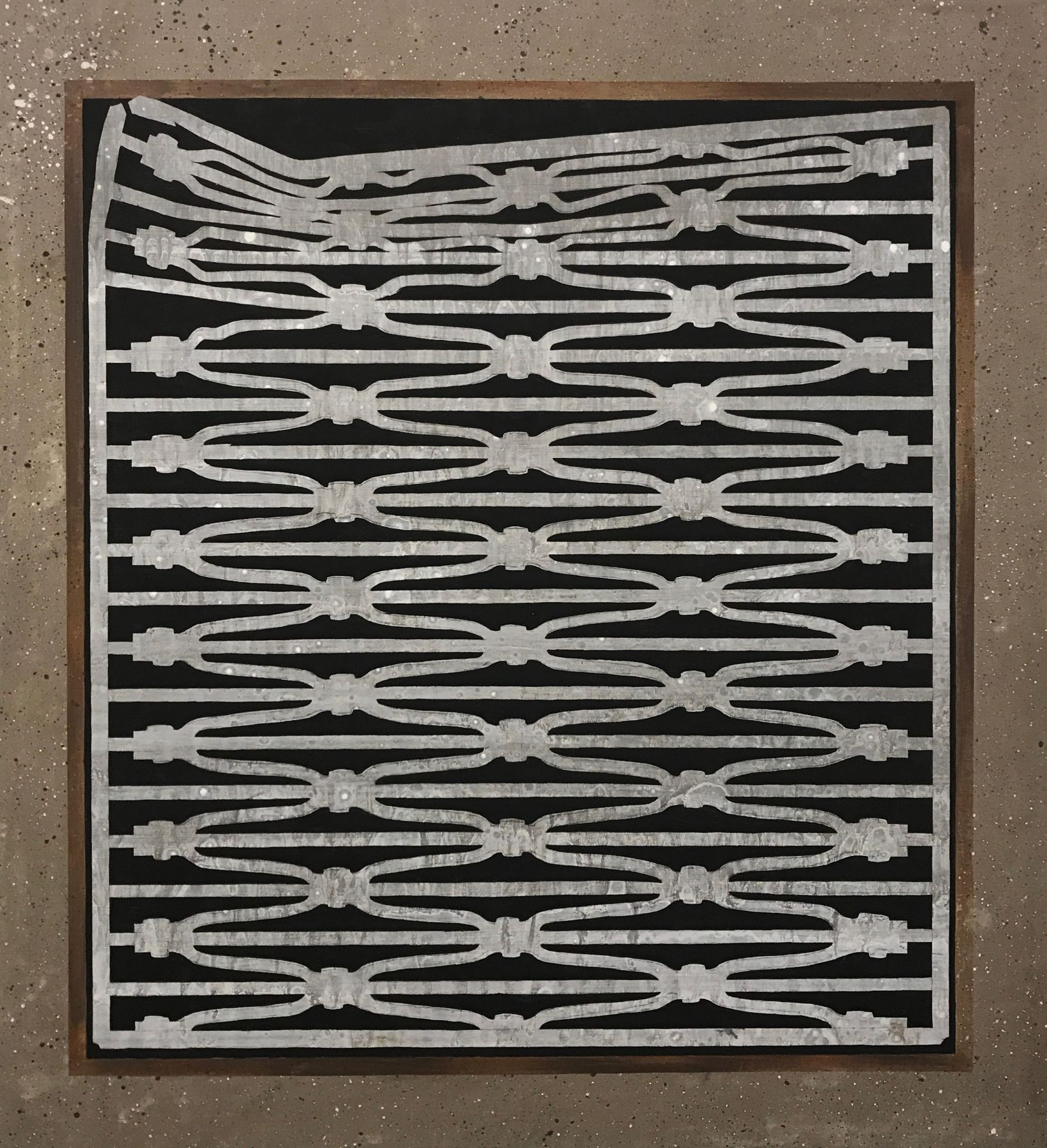 Hannah Cole  Grate In Brown Cement, 2015  Acrylic on canvas  22h x 24w in 55.88h x 60.96w cm  HC_017 Photorealistic painting