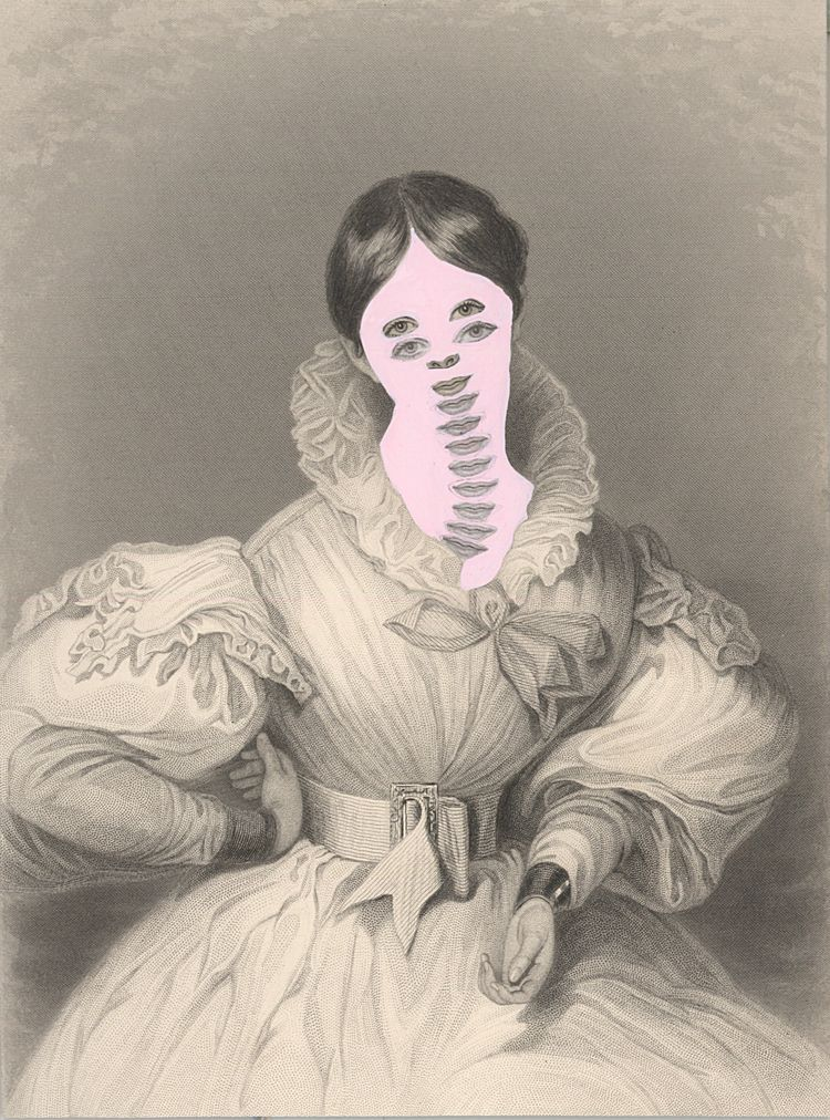 Kirsten Stolle, Mrs. John Goldsmith 1861/2014, from the series de-identified, 2014, gouache and collage on 19th century engraving,  7 1/2h x 5w in, mixed media