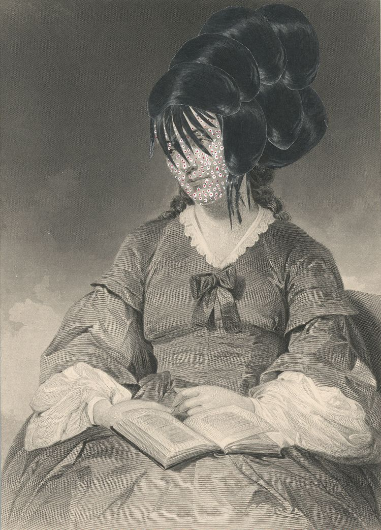 Kirsten Stolle,  Miss Camelia Hall 1860/2015, from the series de-identified, gouache and collage on 19th century engraving