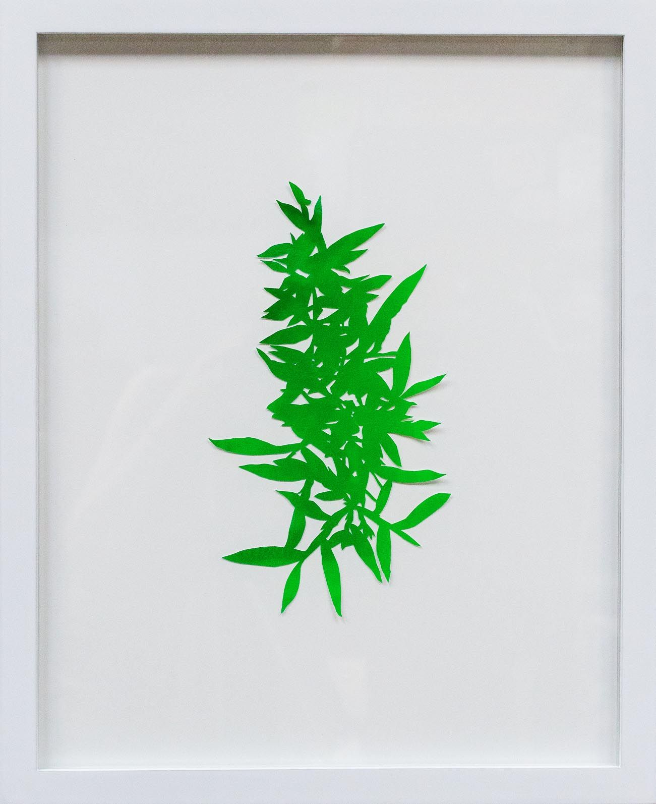 Hannah Cole  Florida Grass, 2018  watercolor on cut paper  Framed: 20h x 16w in 50.80h x 40.64w cm  HC_062