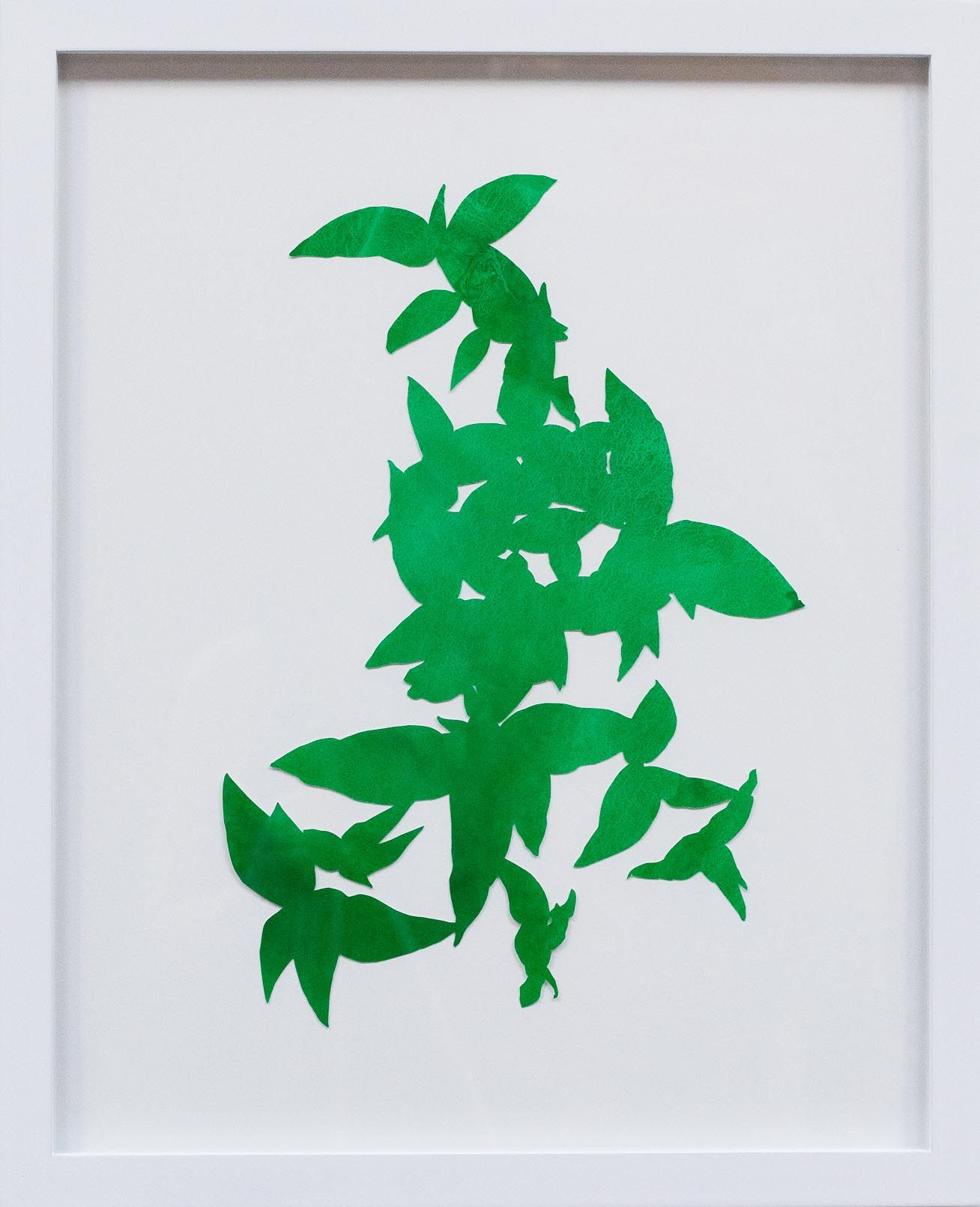 Hannah Cole  Large Cluster of Green Weeds, 2018  watercolor on cut paper  Framed: 20h x 16w in 50.80h x 40.64w cm  HC_045