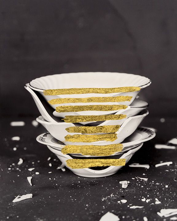 James Henkel  Repaired Stack of Bowls (Gold), 2018  Archival Pigment Print with Gold Leaf  10h x 8w in  Unique, Contemporary Art, Photography, gold leaf, vessels