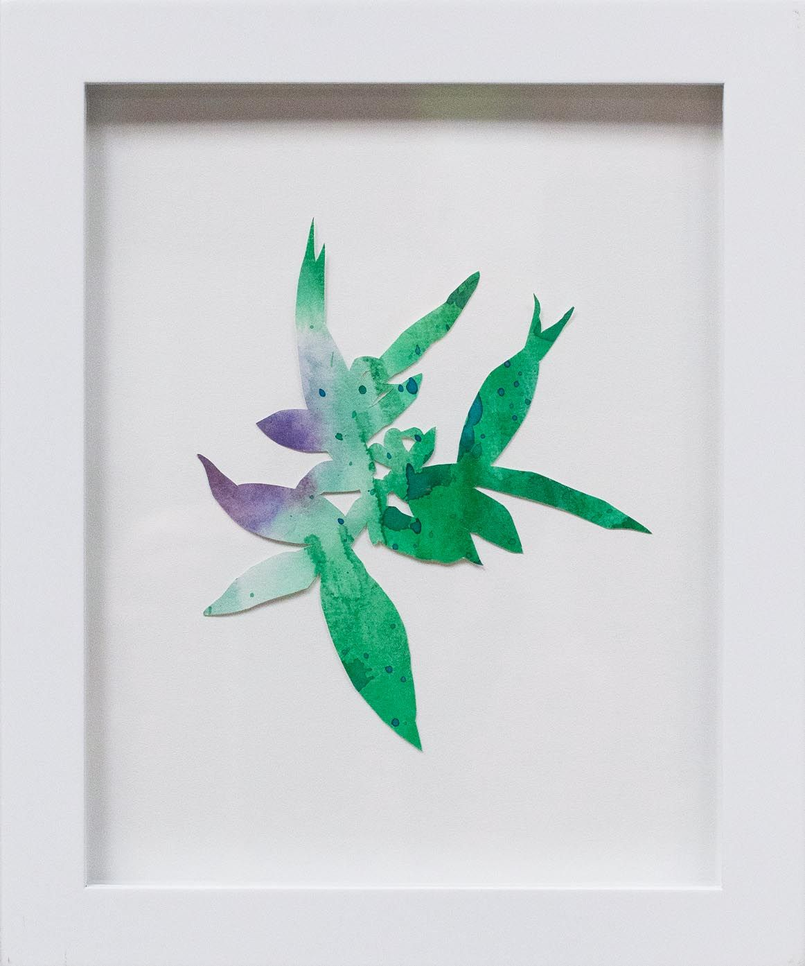 Hannah Cole  Purple Crabgrass #1, 2018  watercolor on cut paper  Framed: 10h x 8w in 25.40h x 20.32w cm  HC_064