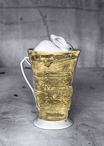 James Henkel  Repaired Cup with Rabbit (Gold), 2018  Archival Pigment Print with Gold Leaf  7h x 5w in  Unique, contemporary art, photography, gold leaf, vessels