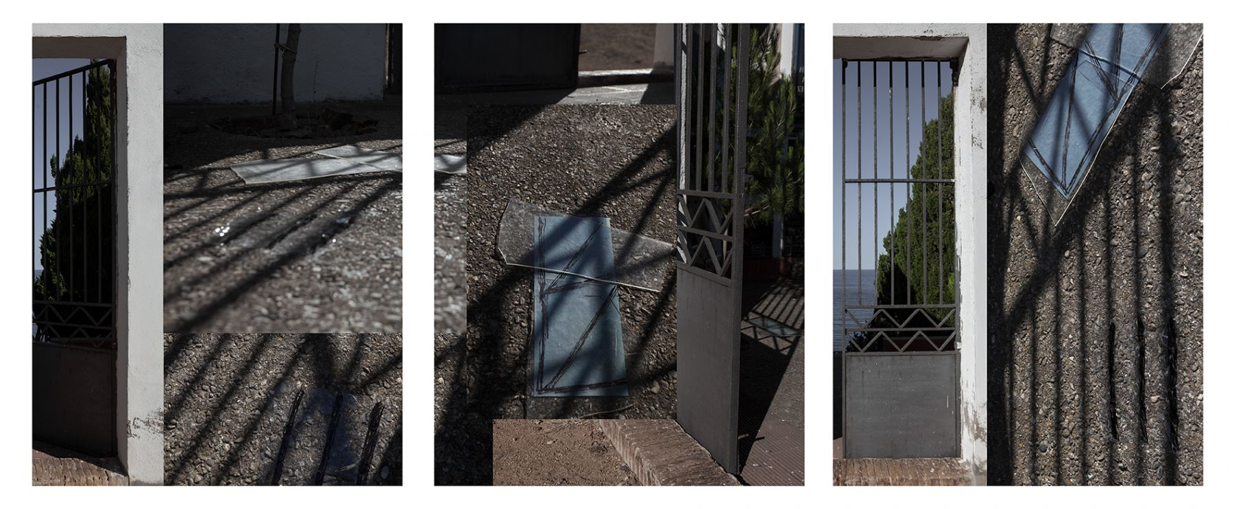 Dawn Roe  Cemetario de Portbou (Shadow and Gate), 2017  Three Panel Archival Pigment Print  20 x 16 inches each, Photography, Asheville, Contemporary Art