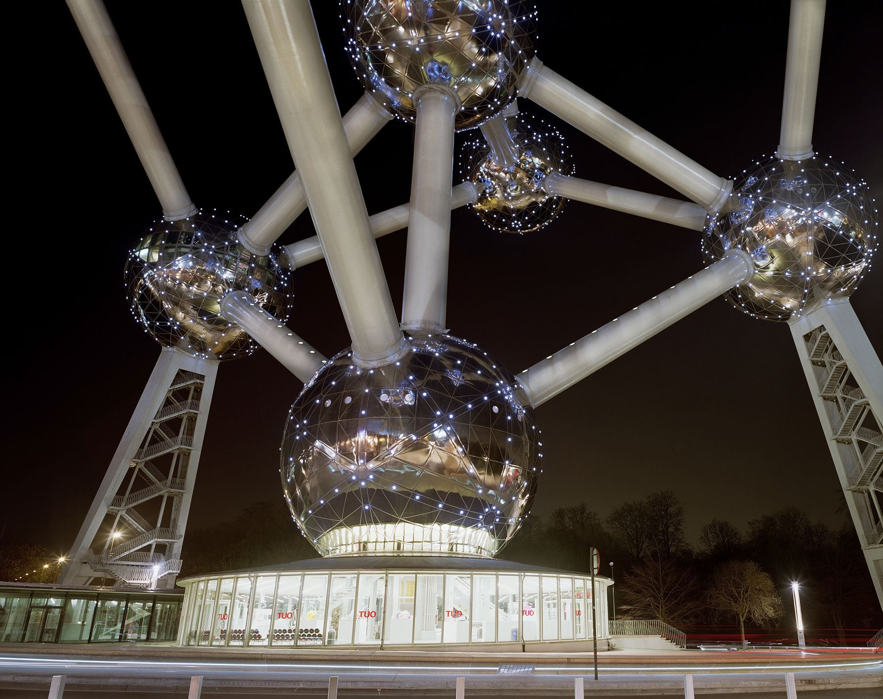 "Jade Doskow, Brussel's 1958 World's Fair, "" A New Humanism,"" Atomium at Night, 2008, Archival Inkjet Print. Photographs."