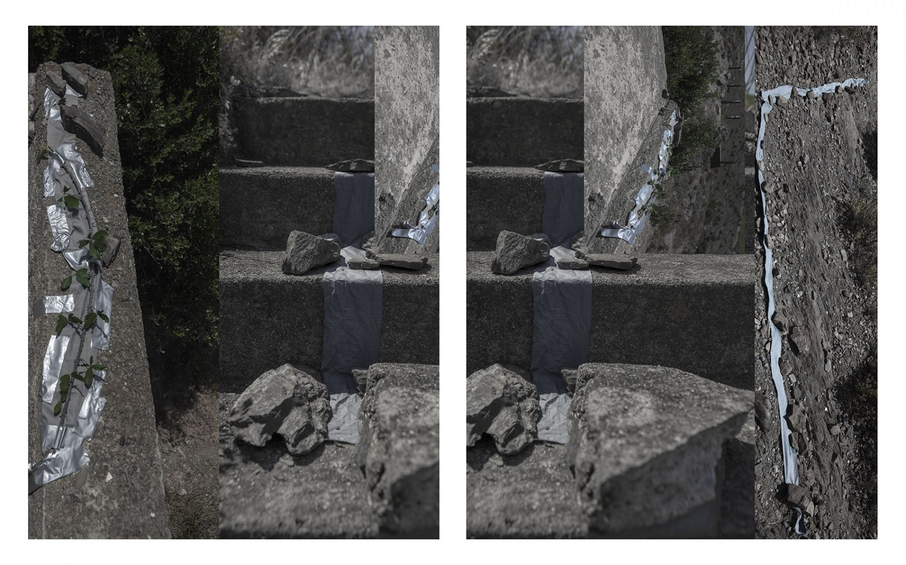 """Dawn Roe  Francoist Bunker, Spain/France Border (Concrete, Cloth, Boulders, Tape), from the series """"Conditions for and Unfinished Work of Mourning: Beauty As a Appeal to Join the Majority of Those who Are Dead"""", 2017  Two Panel Archival Pigment Print  20 x 16 inches each, Photography, Ashevill, Contemporary Art"""