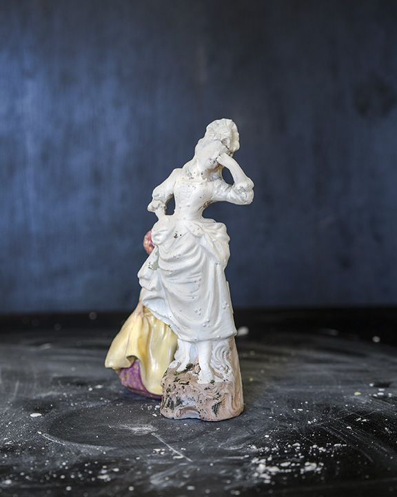 James Henkel  Dramatic Figurine in Yellow Dress, 2018  Archival pigment print  20 x 16 inches  Edition of 5  30 x 24 inches  Edition of 3, contemporary art, photography, figurines