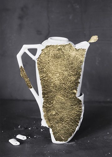 James Henkel  Repaired Pitcher (Gold), 2018  Archival Pigment Print with Gold Leaf  7h x 5w in  Unique, contemporary art, photography, gold leaf, vessles