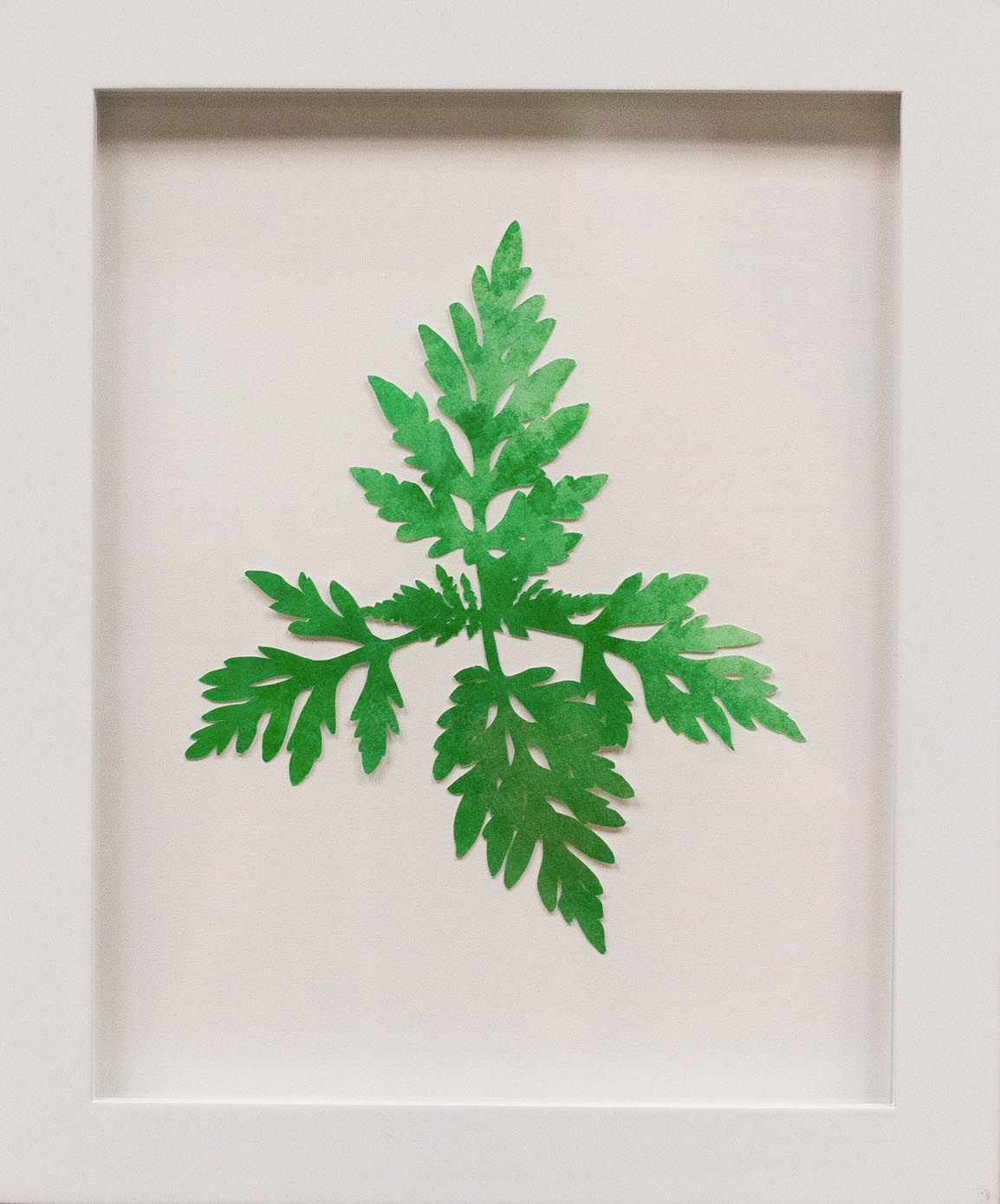 Hannah Cole  Tiny Lacy Weed, 2018  watercolor on cut paper  Framed: 10h x 8w in 25.40h x 20.32w cm  HC_034