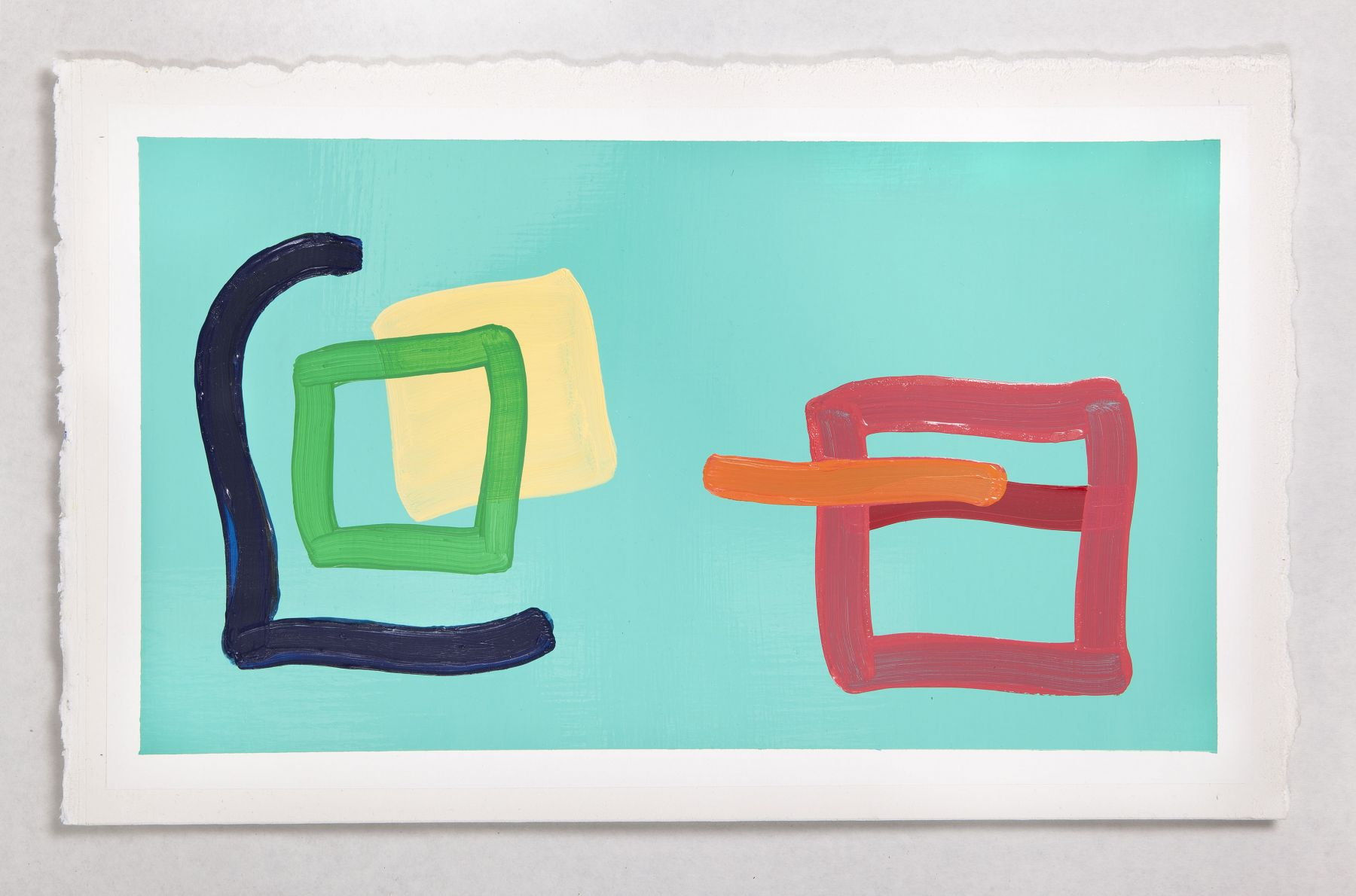 Sharon Louden, Community, 2013, Oil and enamel on paper, 11h x 18w in, Works on paper