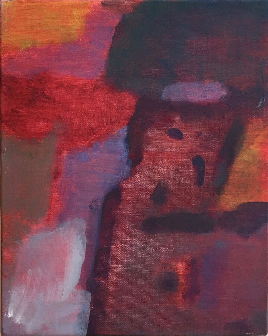 An Hoang, Untitled (red interior), 2016, oil on canvas, 10 x 8 inches, paintings