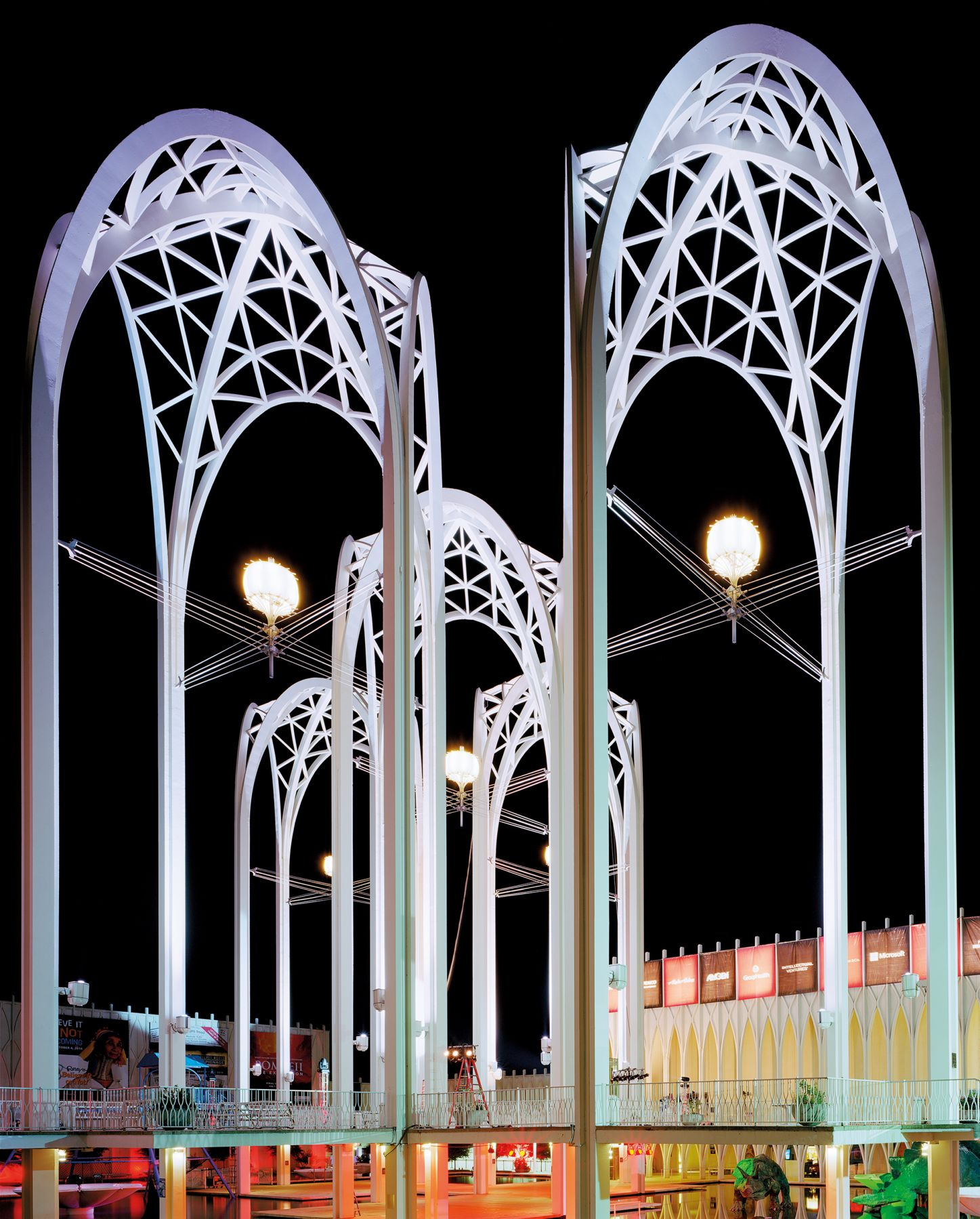 "Jade Doskow, Seattle 1962 World's Fair, ""Century 21 Exposition,"" Science Center Arches at Night, 2014, Archival Inkjet Print. Photography."