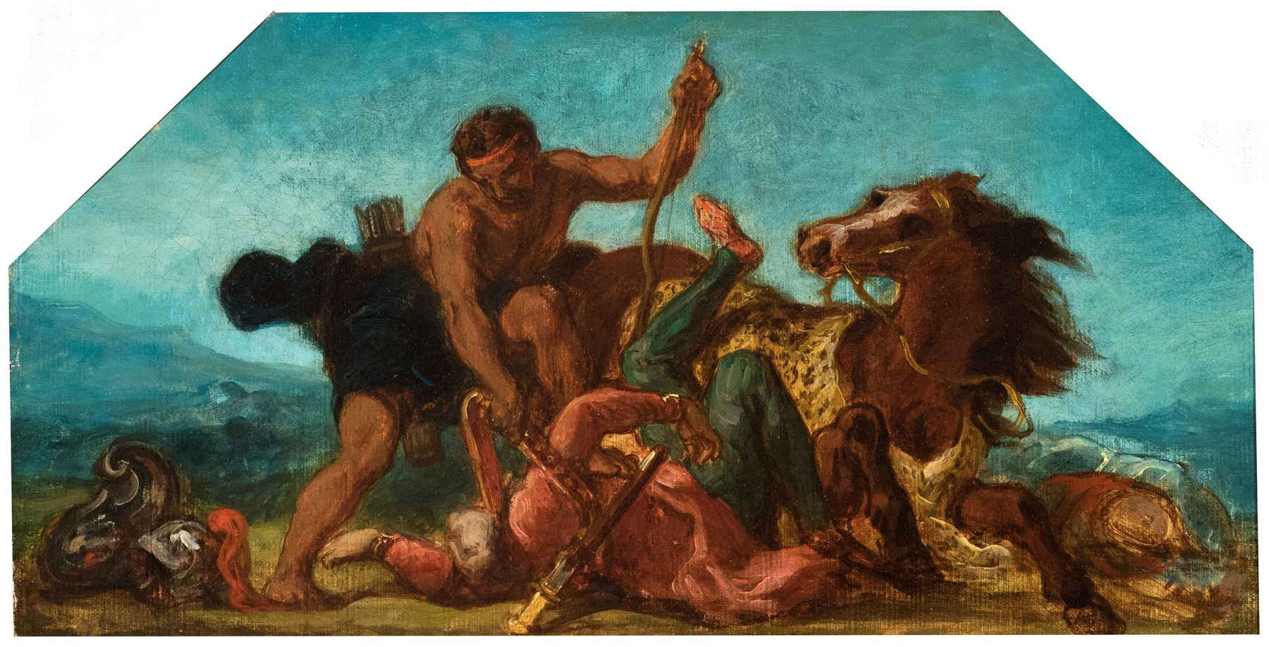 Eugene delacroix Hercules and Hippolyte, Study for a Lunette of The Salon de la Paix    Oil on canvas 9 5/8 x 18 5/8 inches