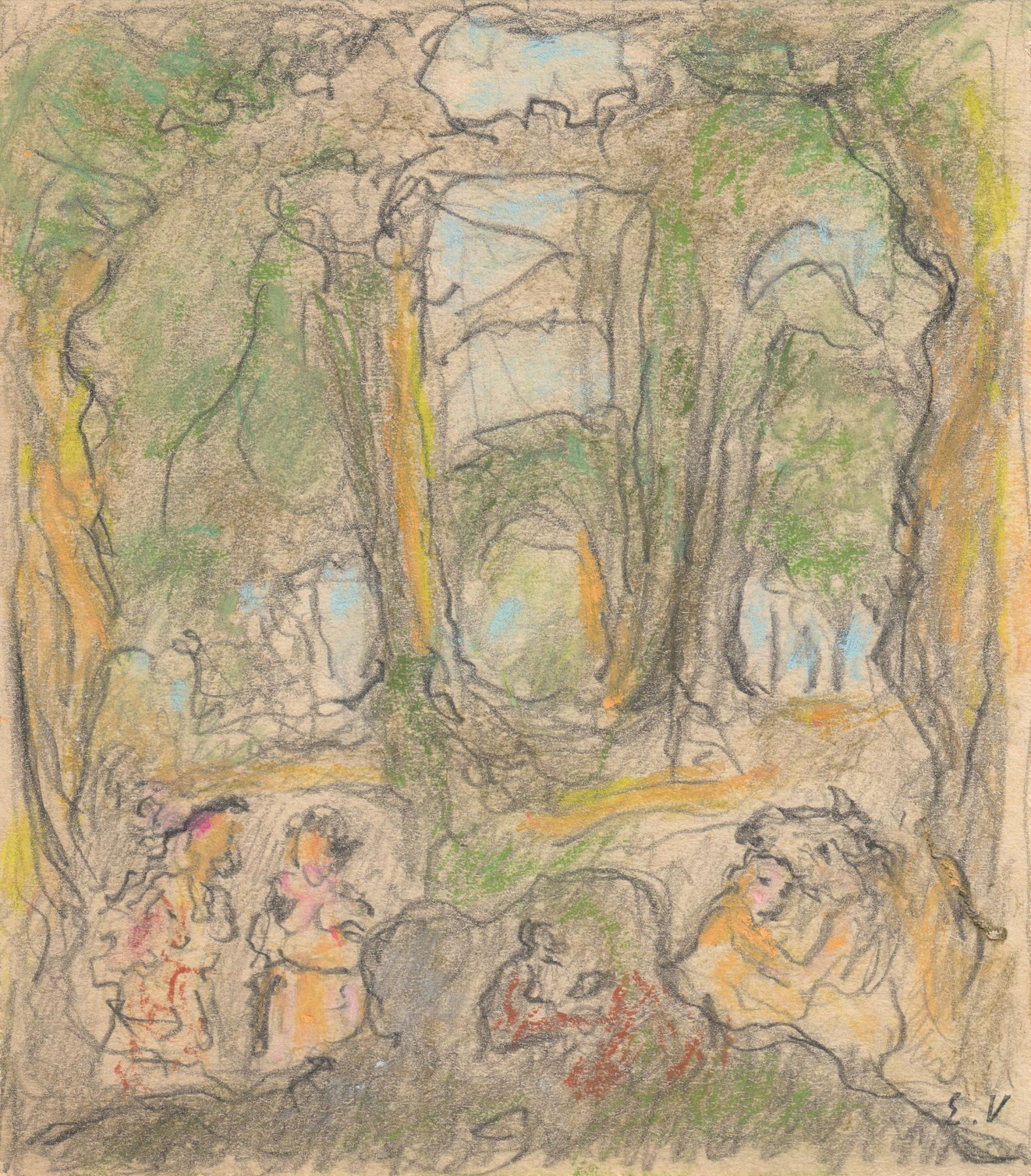 Edouard Vuillard, Study for La Comédie du Palais de Chaillot, 1937,  Pastel and pencil on paper 3 7/8 x 4 3/8 inches
