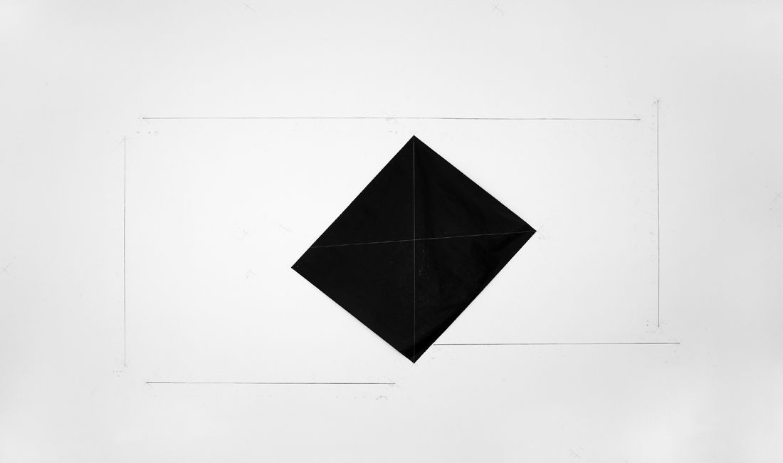 Dorothea Rockburne, Carbon Paper Installation, Milan, 1973  Carbon paper, carbon lines, and pencil