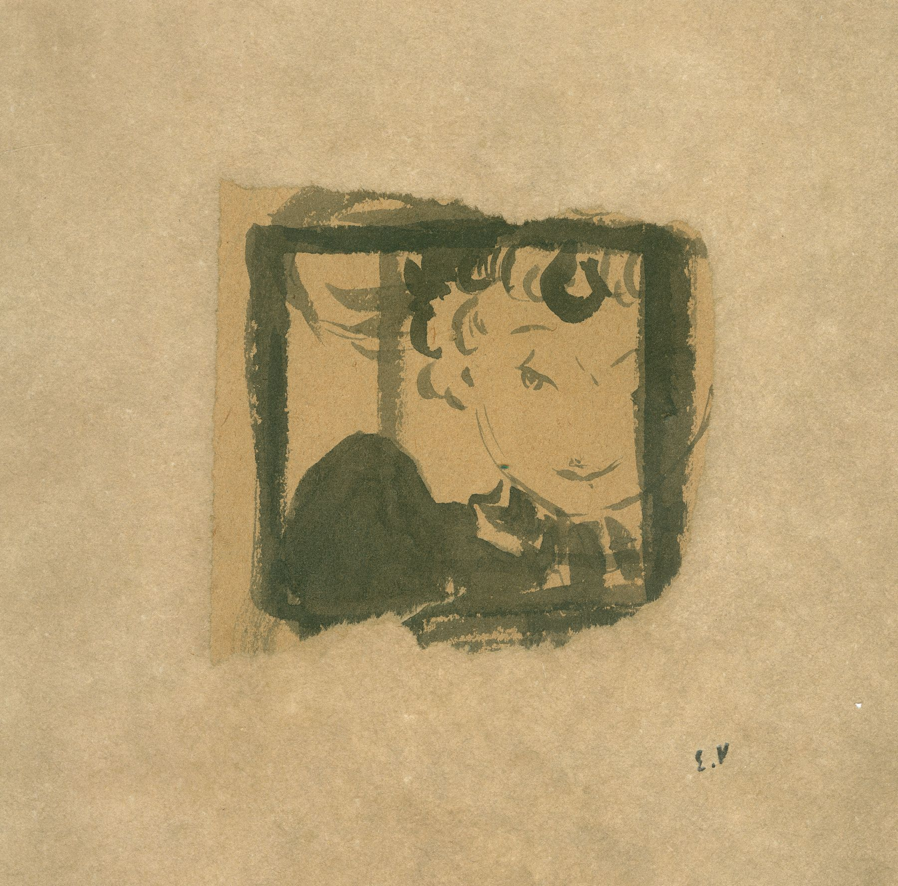 Edouard Vuillard  Marie at the Window, c. 1890  Brush and ink on paper  3 x 3 1/4 inches