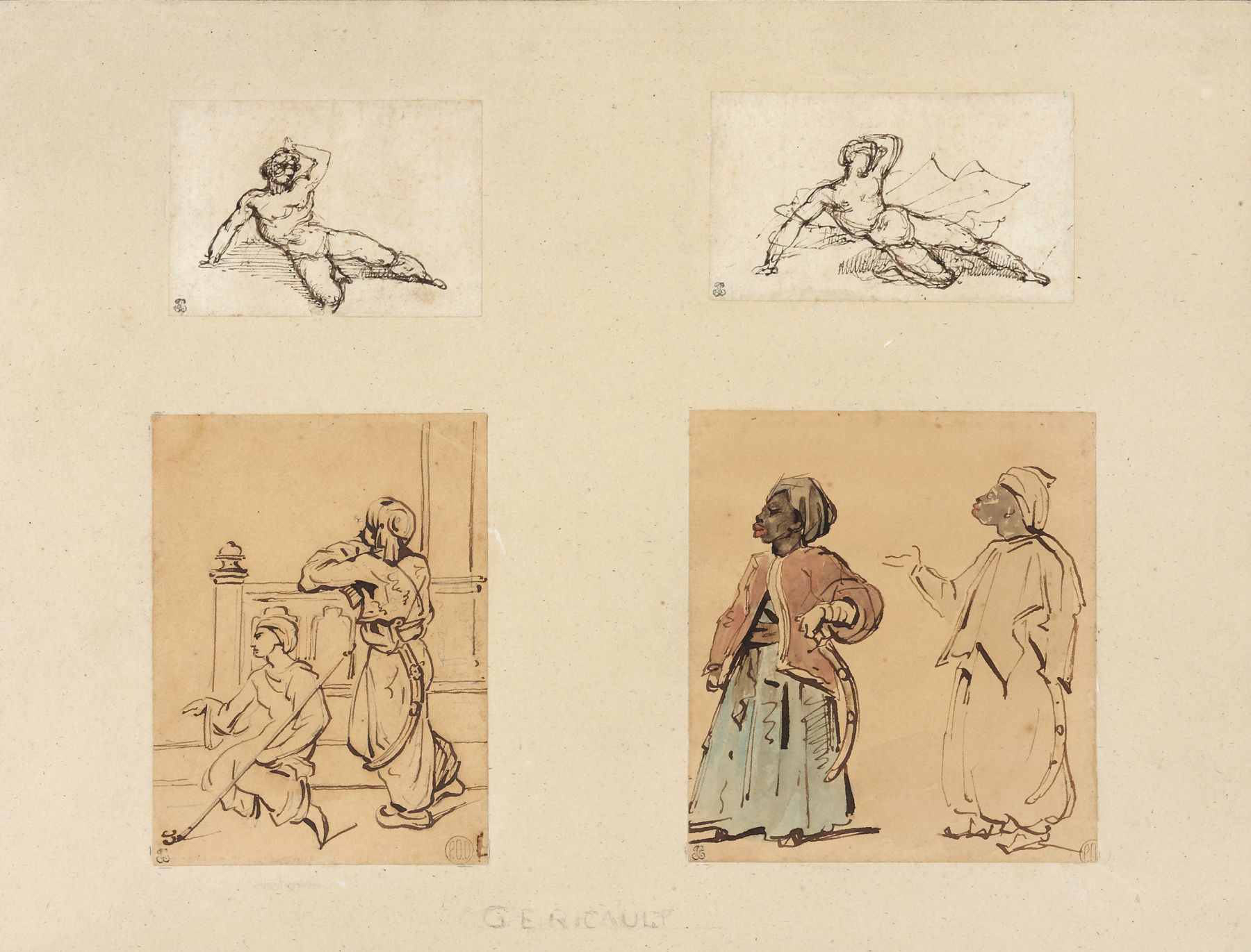 Théodore Géricault  Four drawings: Two Reclining Male Nudes and Two Studies of Arabs  Watercilor and ink on paper 13 x 16 1/8 inches