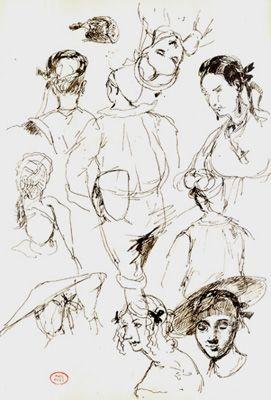 Paul Huet, Portrait Studies, Brown ink on paper 11 5/8 x 8 inches