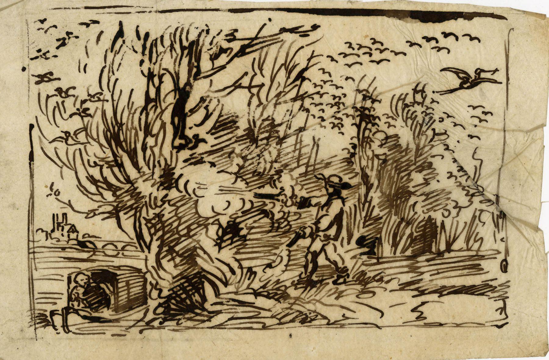 Charles F. Daubigny, La Chasse aux oiseaux: le mousse faisant peur au oiseaux    Pen and ink on papier calque 4 3/4 x 7 1/8 inches