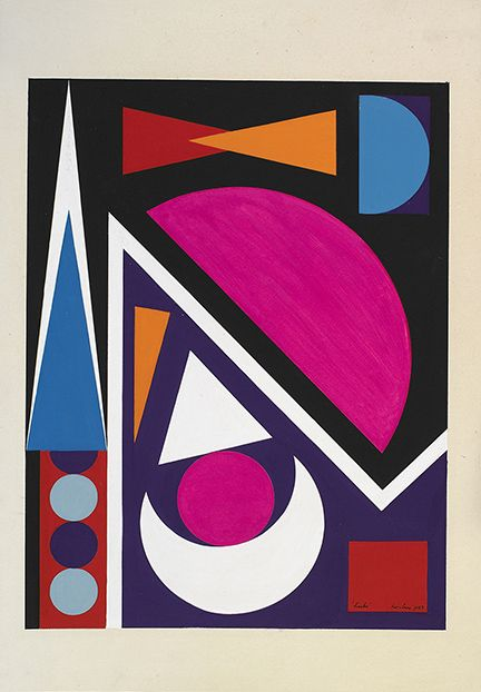 Auguste Herbin, Hache, 1953    Gouache on paper 14 1/2 x 11 inches