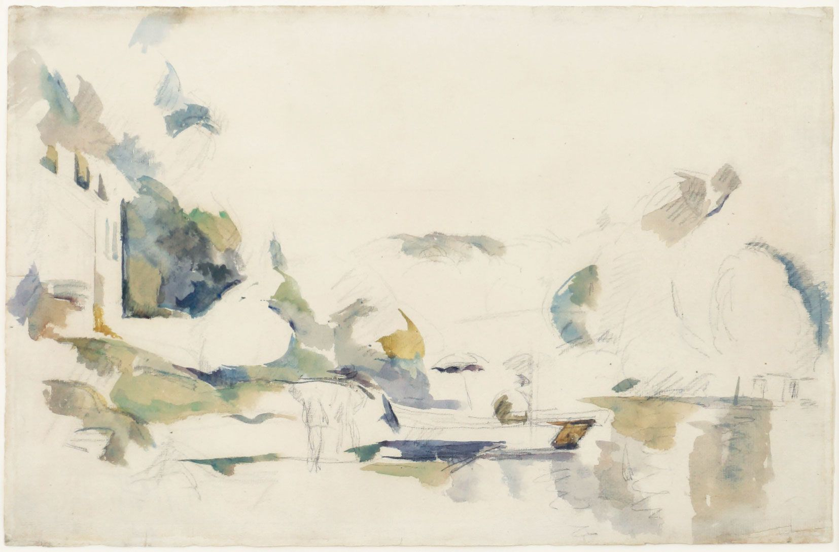 Paul Cezanne, La Barque, Le Lac D'Annecy, 1896, Watercolor and pencil on paper 12 1/4 x 18 5/8 inches
