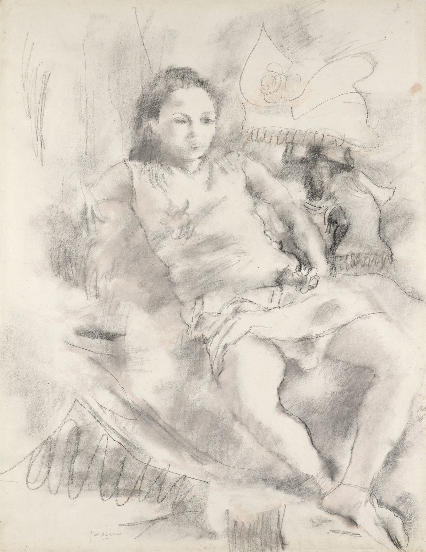 Jules Pascin, Simone, 1928, Charcoal and red chalk on paper 25 1/4 x 19 1/4 inches