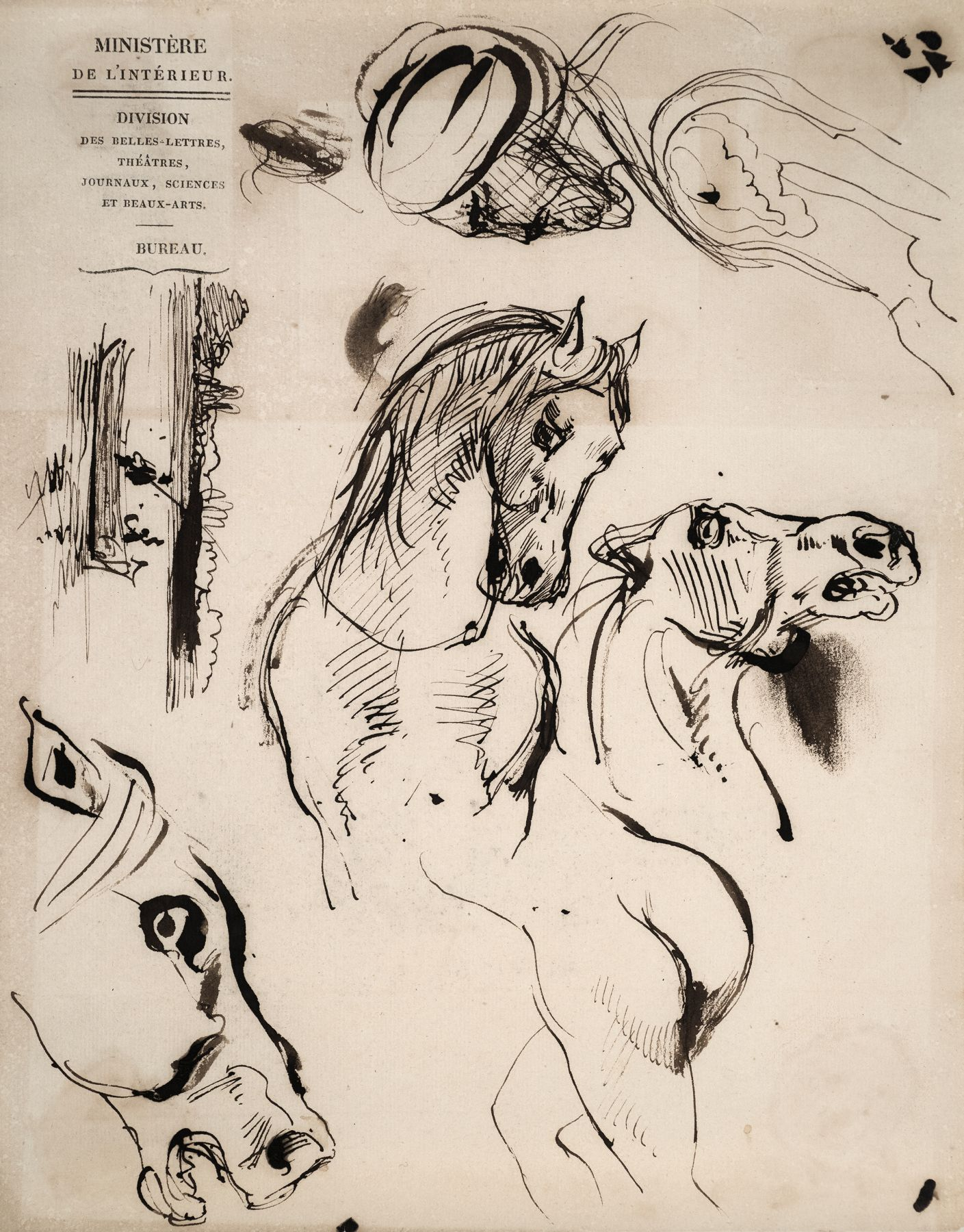 Eugene delacroix Sheet of Studies of Horses, a Moroccan Man in a Turban, and a Landscape Drawing on Stationary from the French Ministry    Pen and brown ink on paper 9 1/4 x 7 1/8 inches
