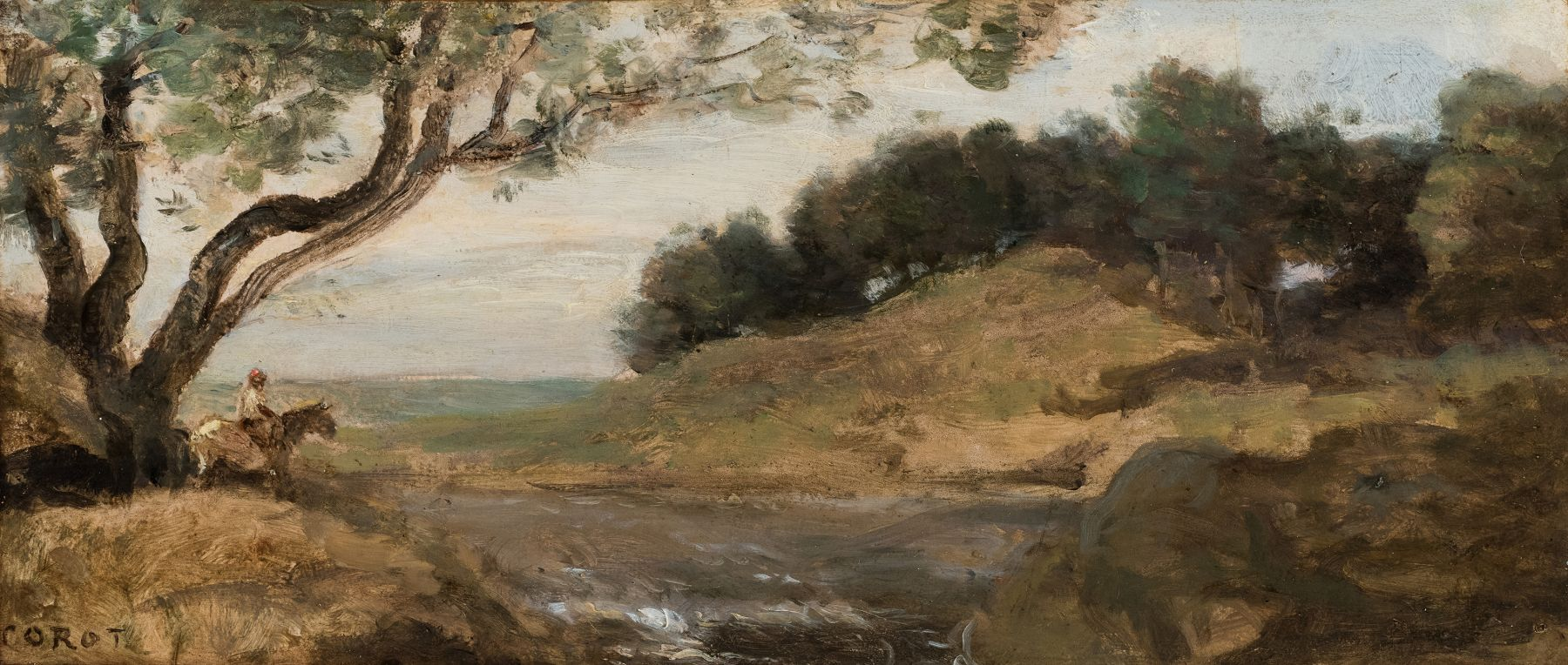 Jean-Baptiste-Camille, Corot Rider Under a Tree, c. 1870-1872, Oil on paper mounted on canvas, 4 7/8 x 11 1/8 inches