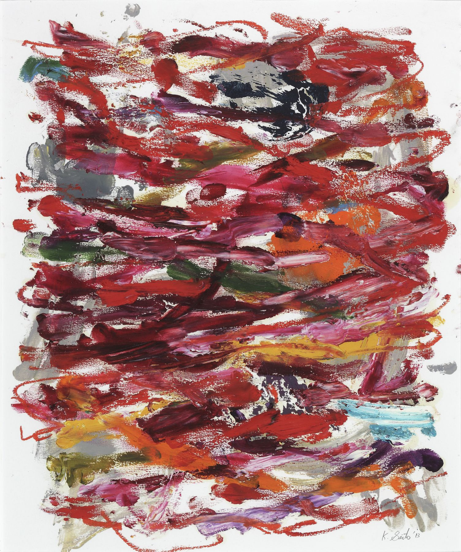 Kikuo Saito, Untitled #234, 2013    Oil and crayon on paper 15 5/8 x 13 inches