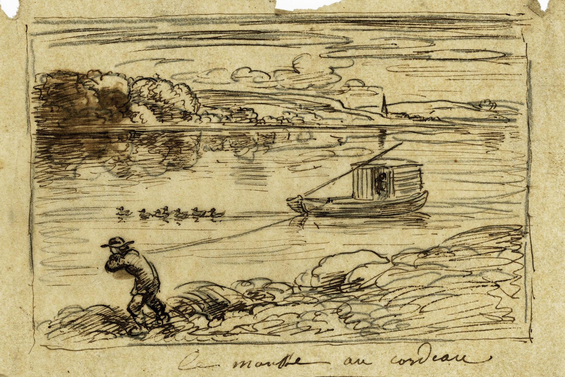 Charles F. Daubigny, The foam pulling the cord (The sorting to the rope)    Pen and ink on tracing paper  4 7/8 x 7 3/8 inches