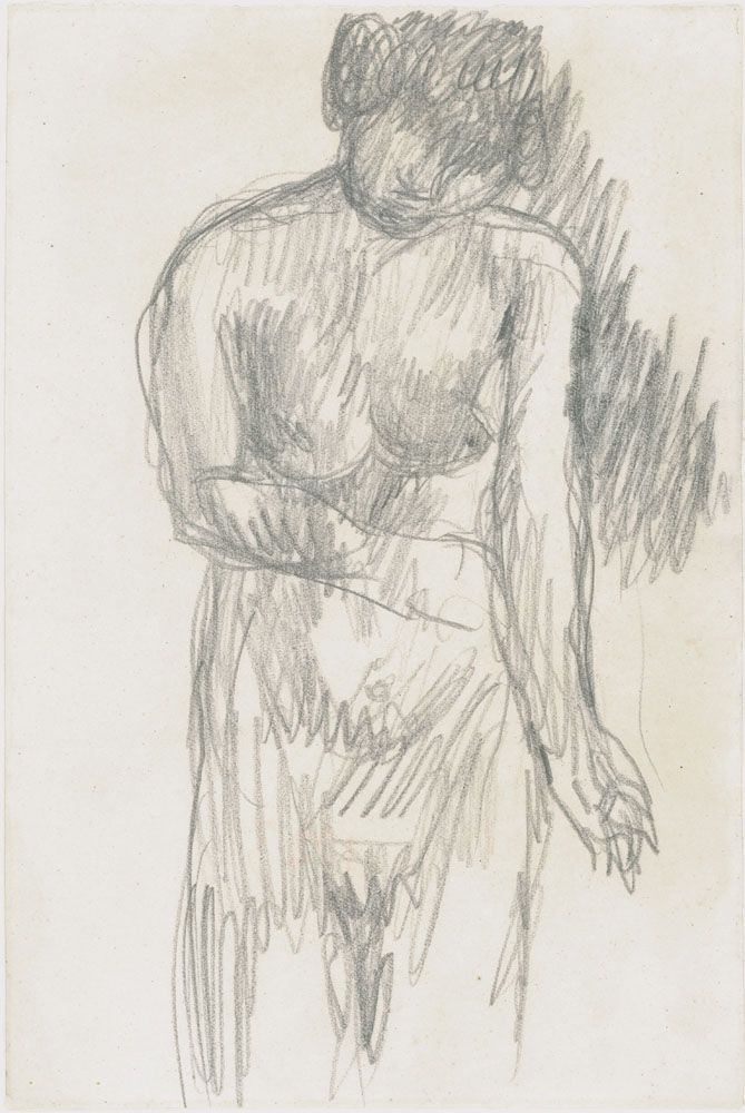 Pierre Bonnard  Standing Nude, Holding her Arm, c. 1923-24  Pencil on paper   7 1/2 x 4 7/8 inches