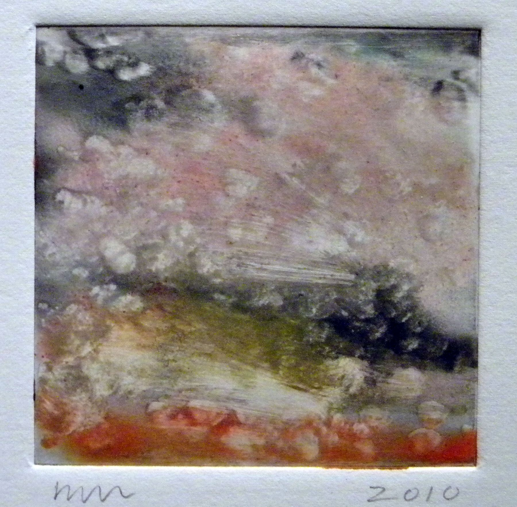 Wendy Mark  Red Yellow, Clouds, 2009  Monotype Plate 3 1/4 x 3 1/4 inches (8.3 x 8.3 cm)