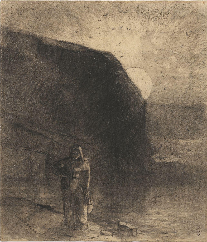 Odilon Redon  Figure devant la baie des trépassés, c. 1890  Charcoal on paper 10 5/8 x 9 1/4 inches