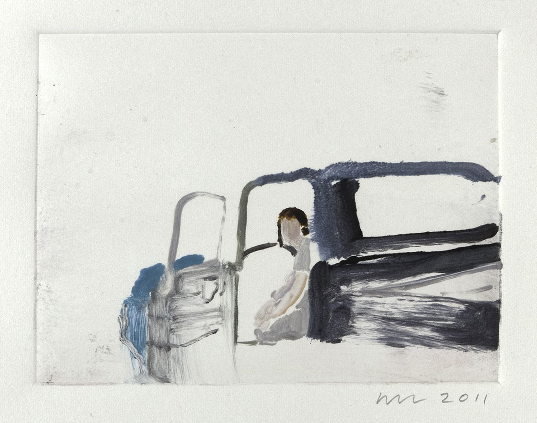 Wendy Mark, Waiting for the Mechanic to Show Up, 2011  Monotype 4 5/8 × 6 1/8 inches