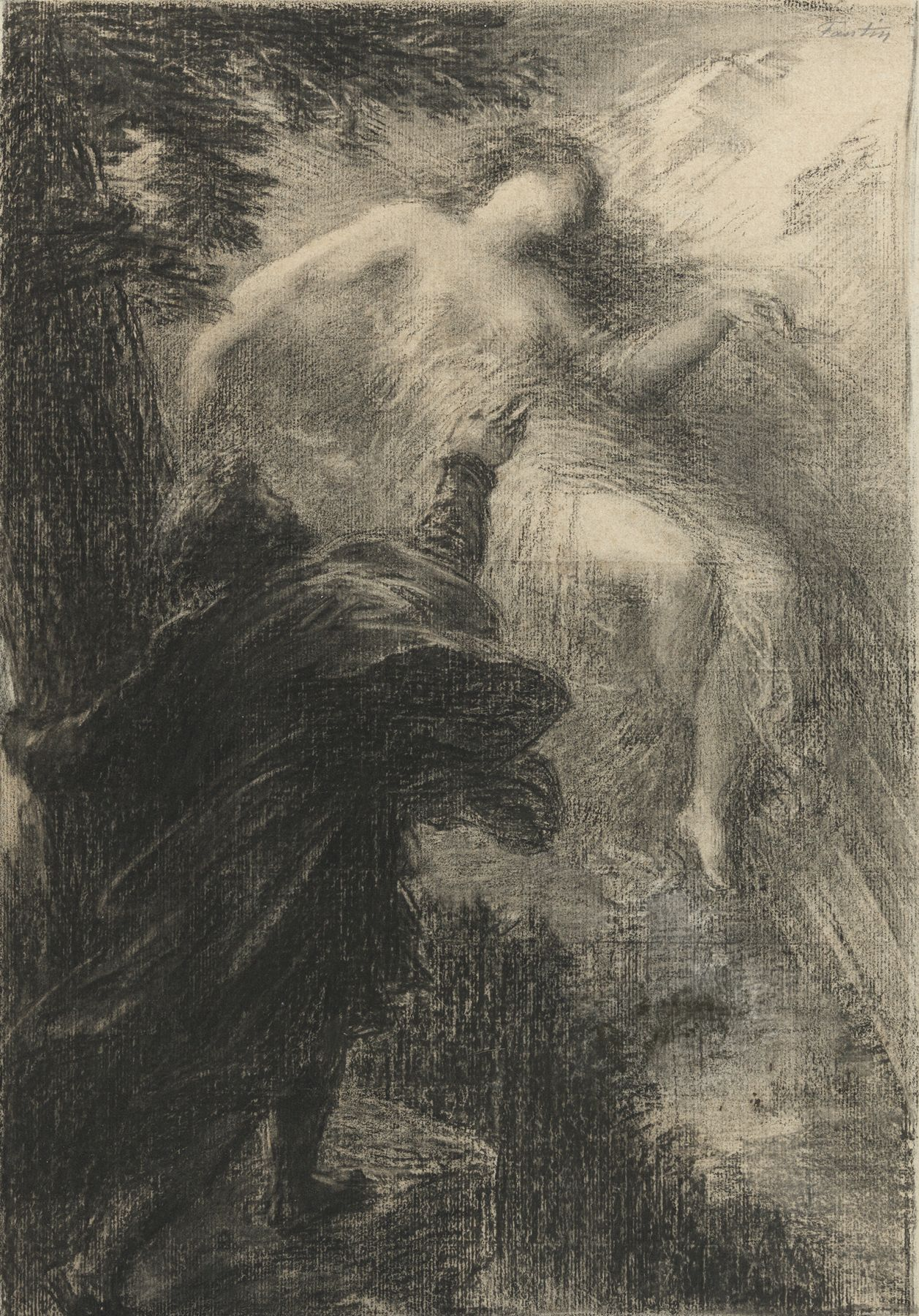 Henri Fantin-Latour Study for the second plate of La Fée des Alpes (Manfred), ca. 1885 Charcoal on paper 24 1/2 x 18 1/4 inches