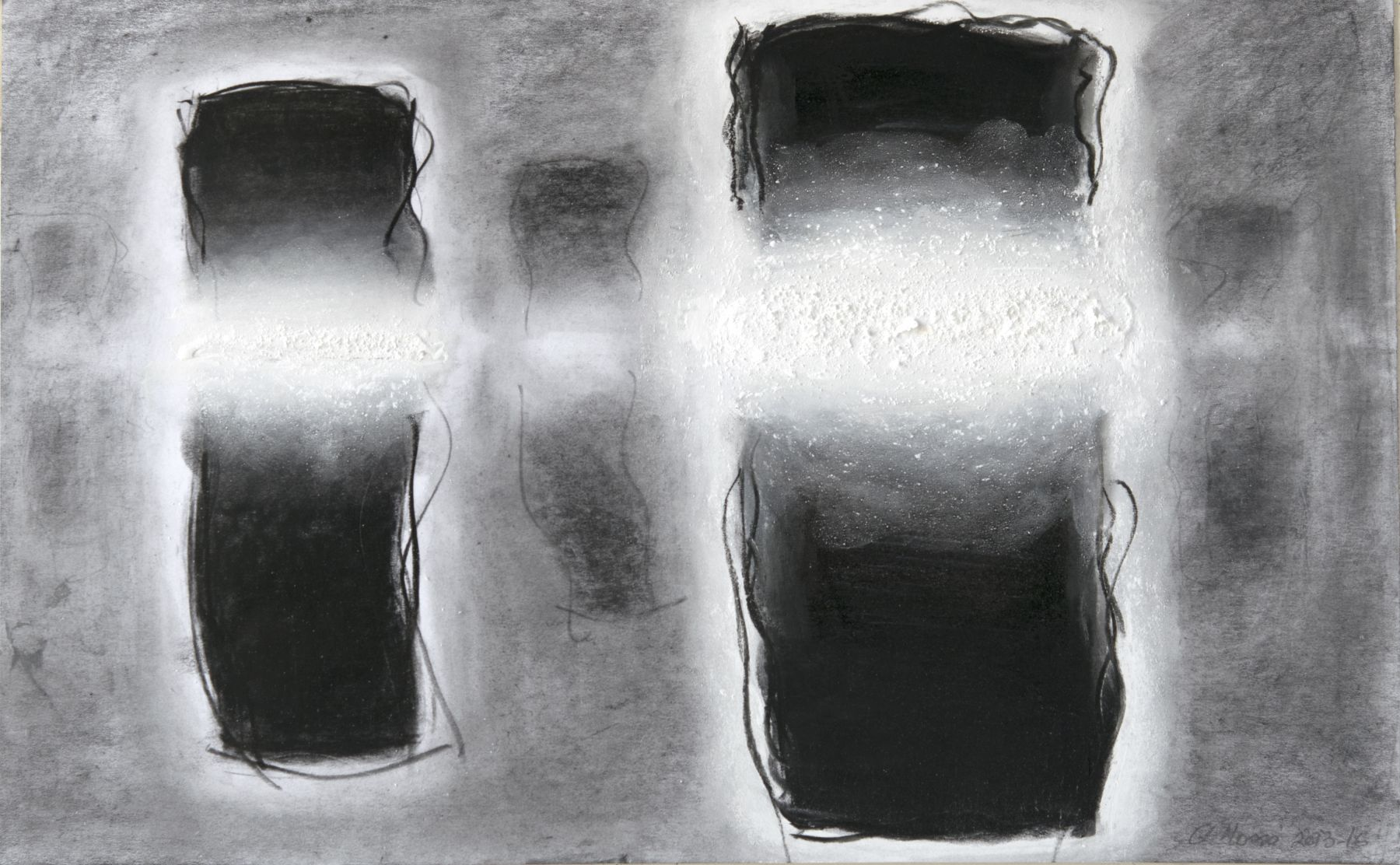 Gerard Mosse, B & W 1, 2013-16  10 3/8 x 17 in.   Graphite, conte crayon, charcoal, acrylic, and pigment on plate paper