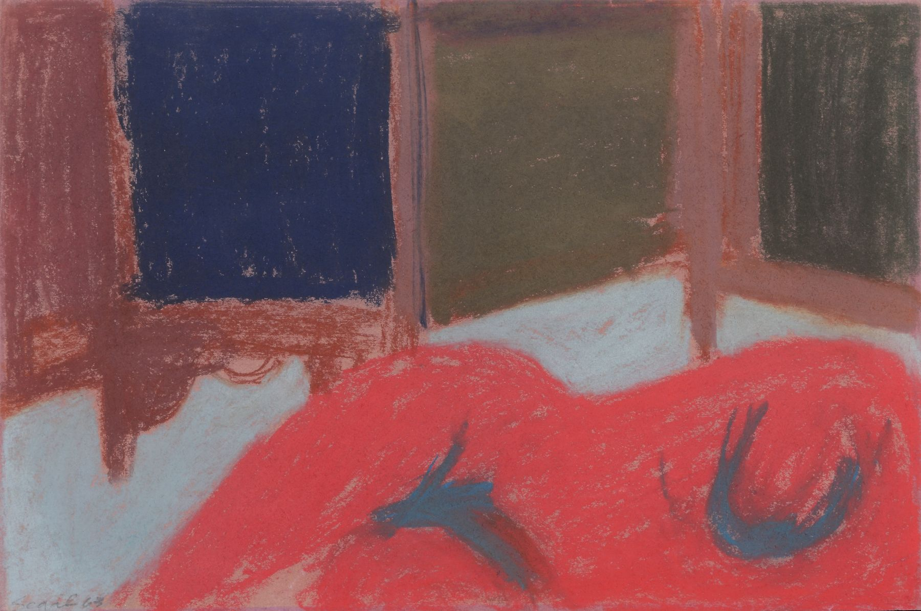 George Segal, Untitled (Red Nude), 1963, Pastel on paper 12 x 18 inches