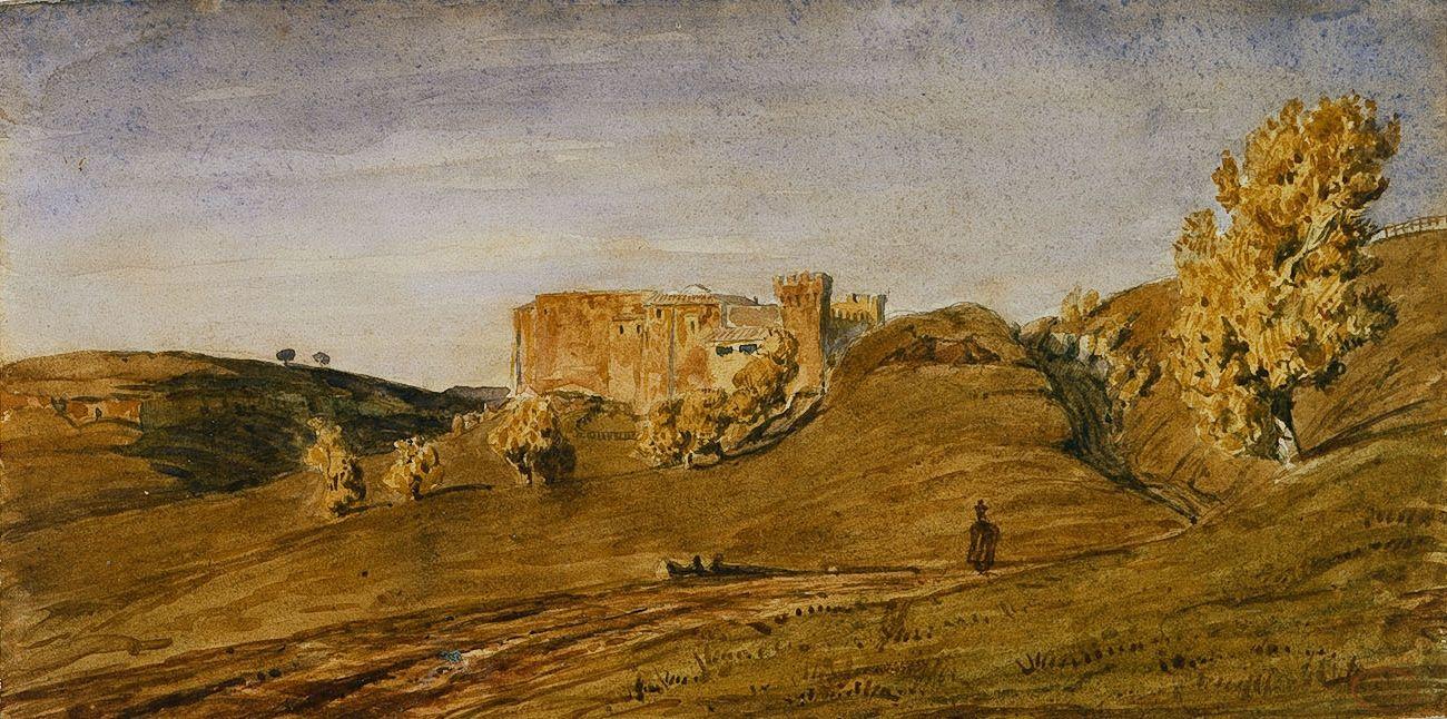 Paul Huet, Provincial Landscape (Campagne de Rome), Watercolor on paper 5 1/2 x 11 inches