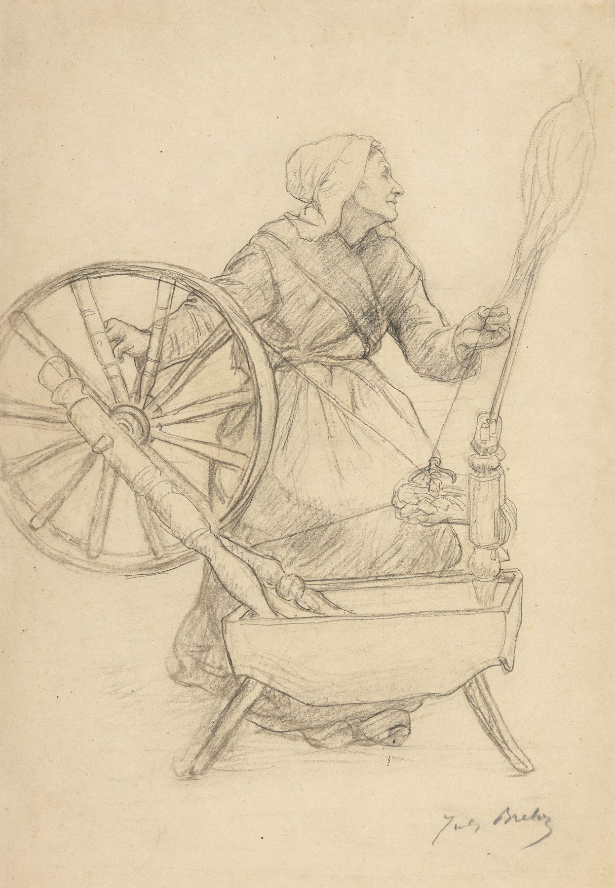 Jules Breton  La Femme au Rouet (Woman at the Spinning Wheel), 1884  Charcoal and black chalk on paper 18 1/2 x 13 3/8 inches