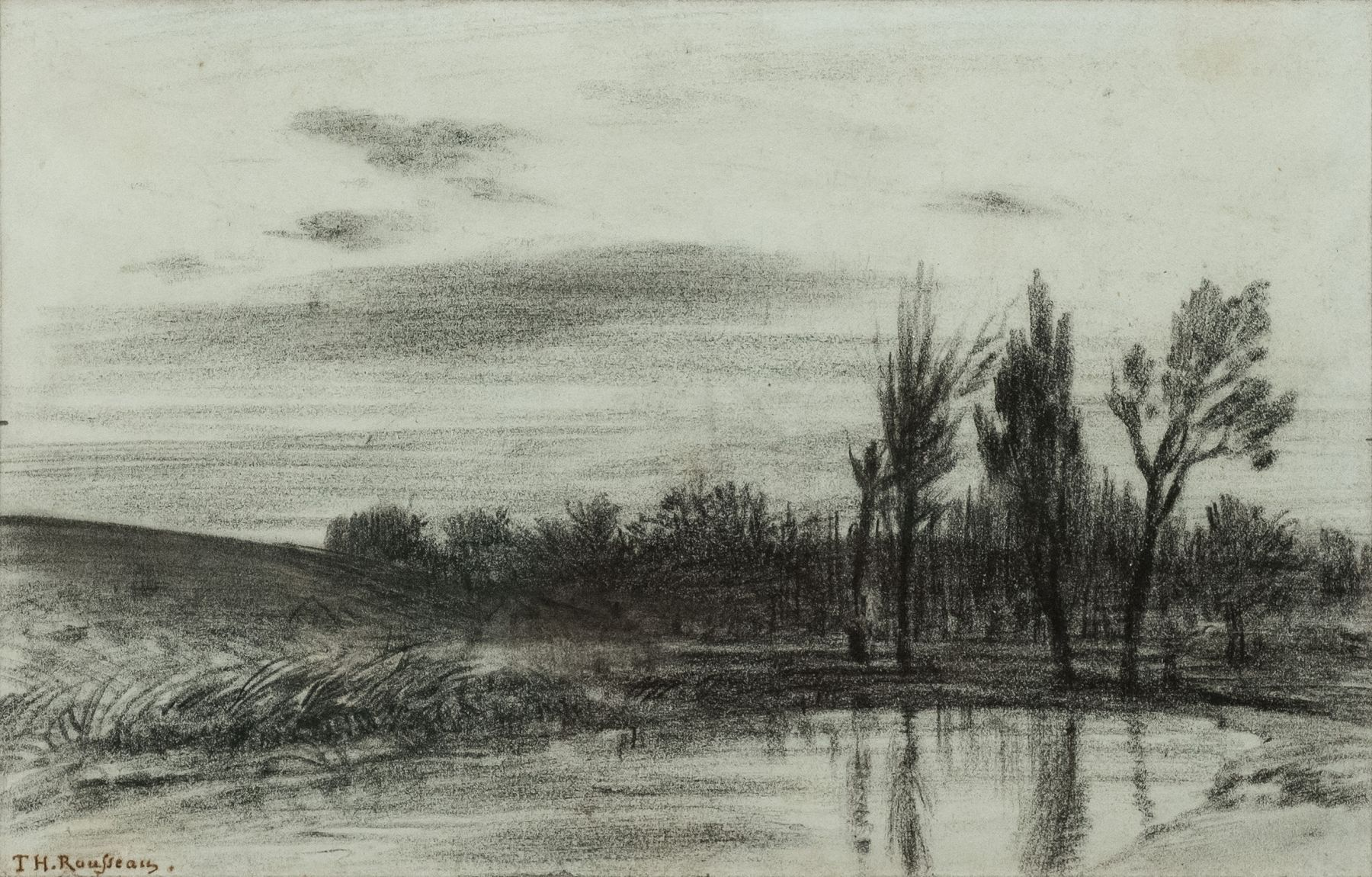 Theodore Roussea, Trees Near a Stream, c. 1845  Charcoal on light-blue paper ​5 x 7 7/8 inches
