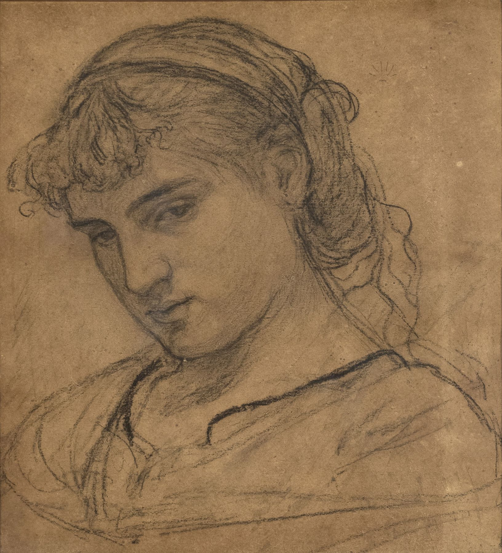Albert Joseph Moore, Portrait of a Girl, Charcoal on brown paper 13 1/2 x 14 1/2 inches