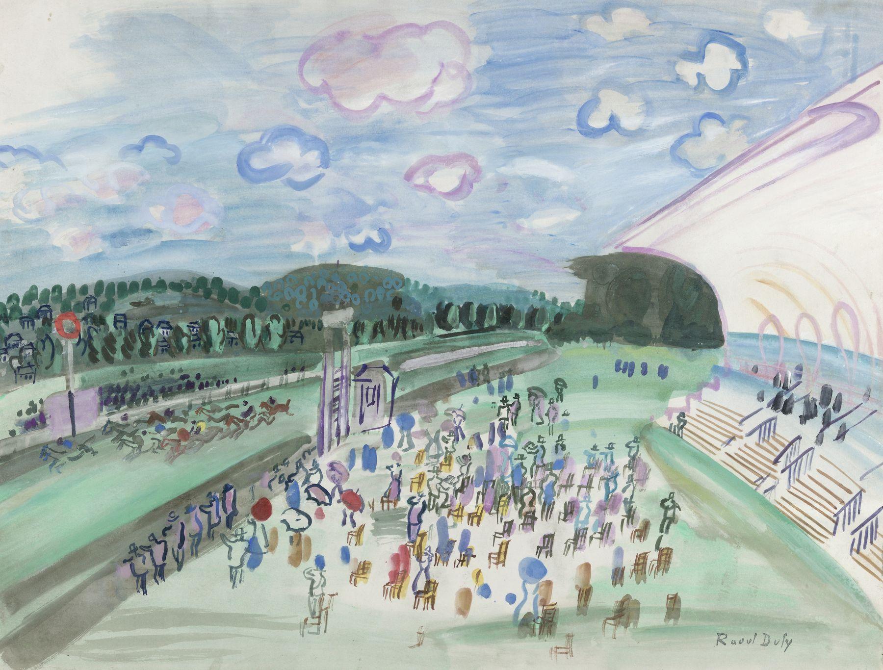 Raoul Dufy, Courses à Deauville, c. 1929, Gouache on paper 19 5/8 x 25 5/8 inches