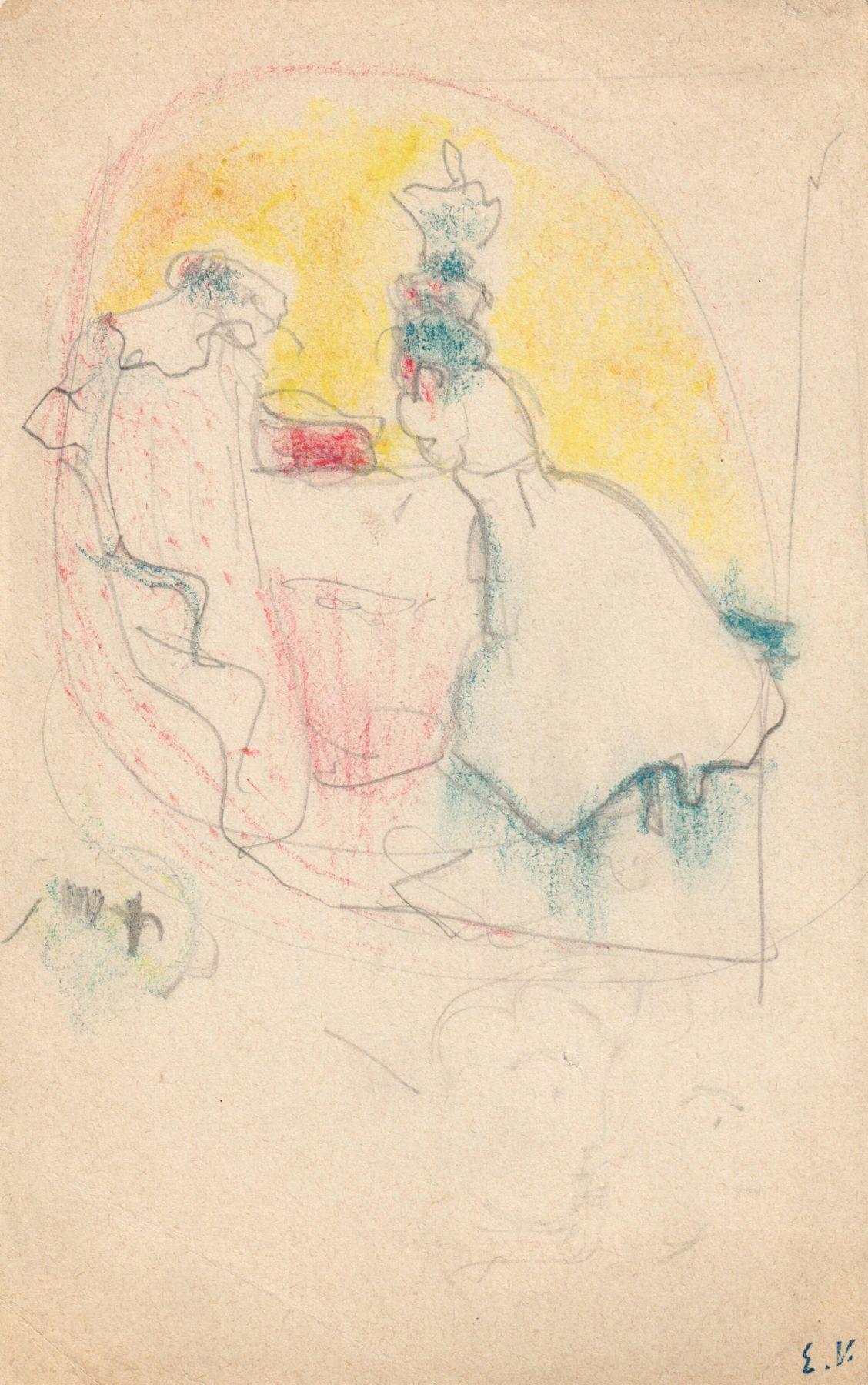 "Edouard Vuillard, Study for ""Les deux belles-soeurs,"" 1898-1899, Colored pencils and graphite on paper 6 1/8 x 3 7/8 inches"