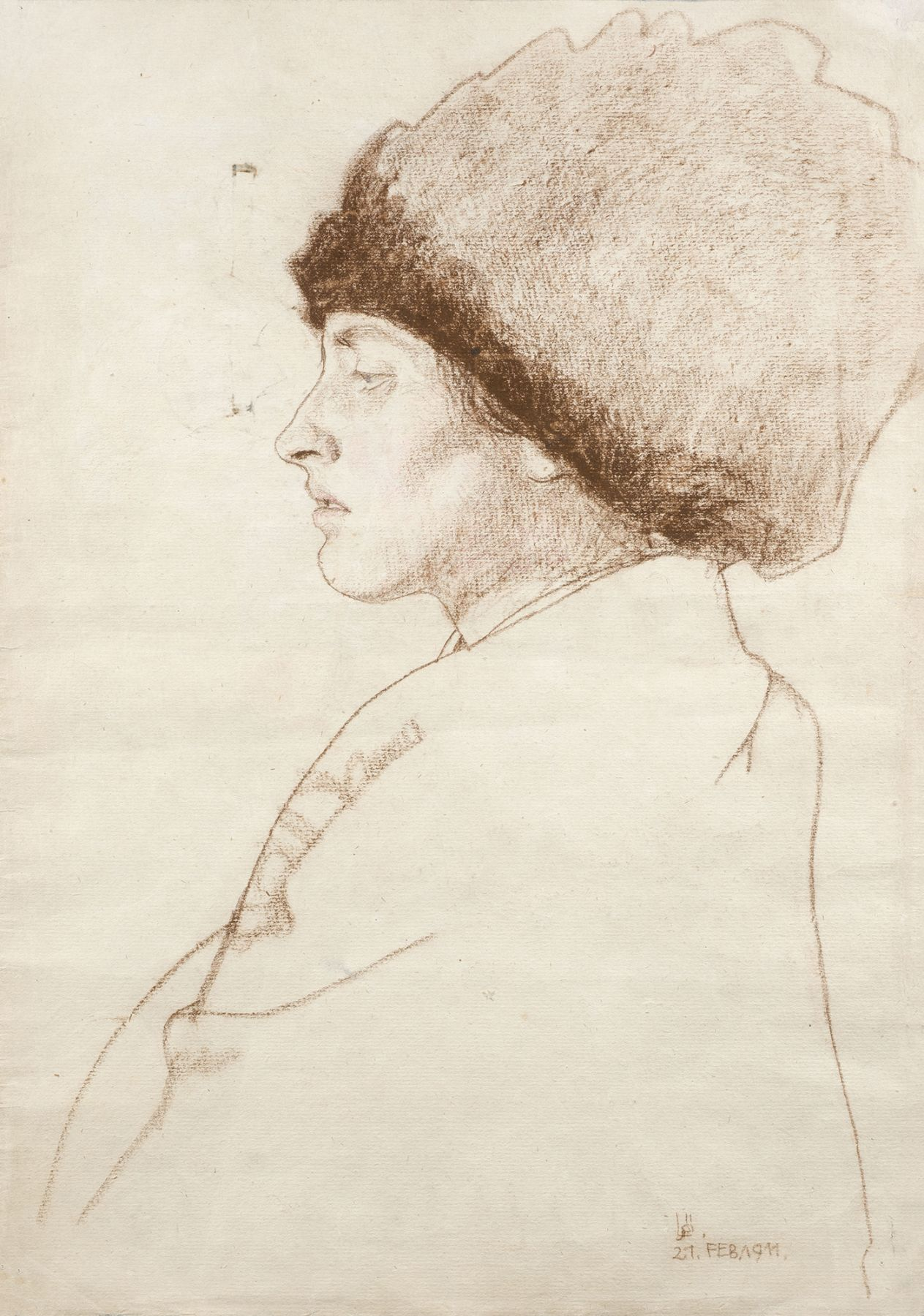Berthold Löffler  Portrait of Melitta, the artist's wife (recto) / Designs for a poster (verso), 1911  Red chalk and color crayon on paper (recto) / Gouache and ink (verso)  18 x 12 1/2 inches