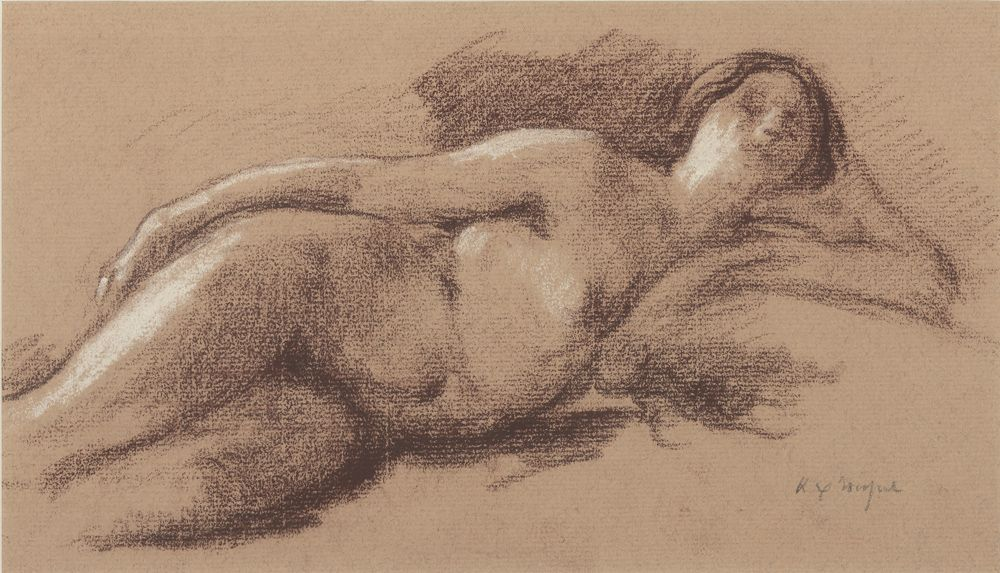 Ker Xavier Roussel  Reclining Nude  Brown and white chalk on paper  5 7/8 x 10 3/8 inches