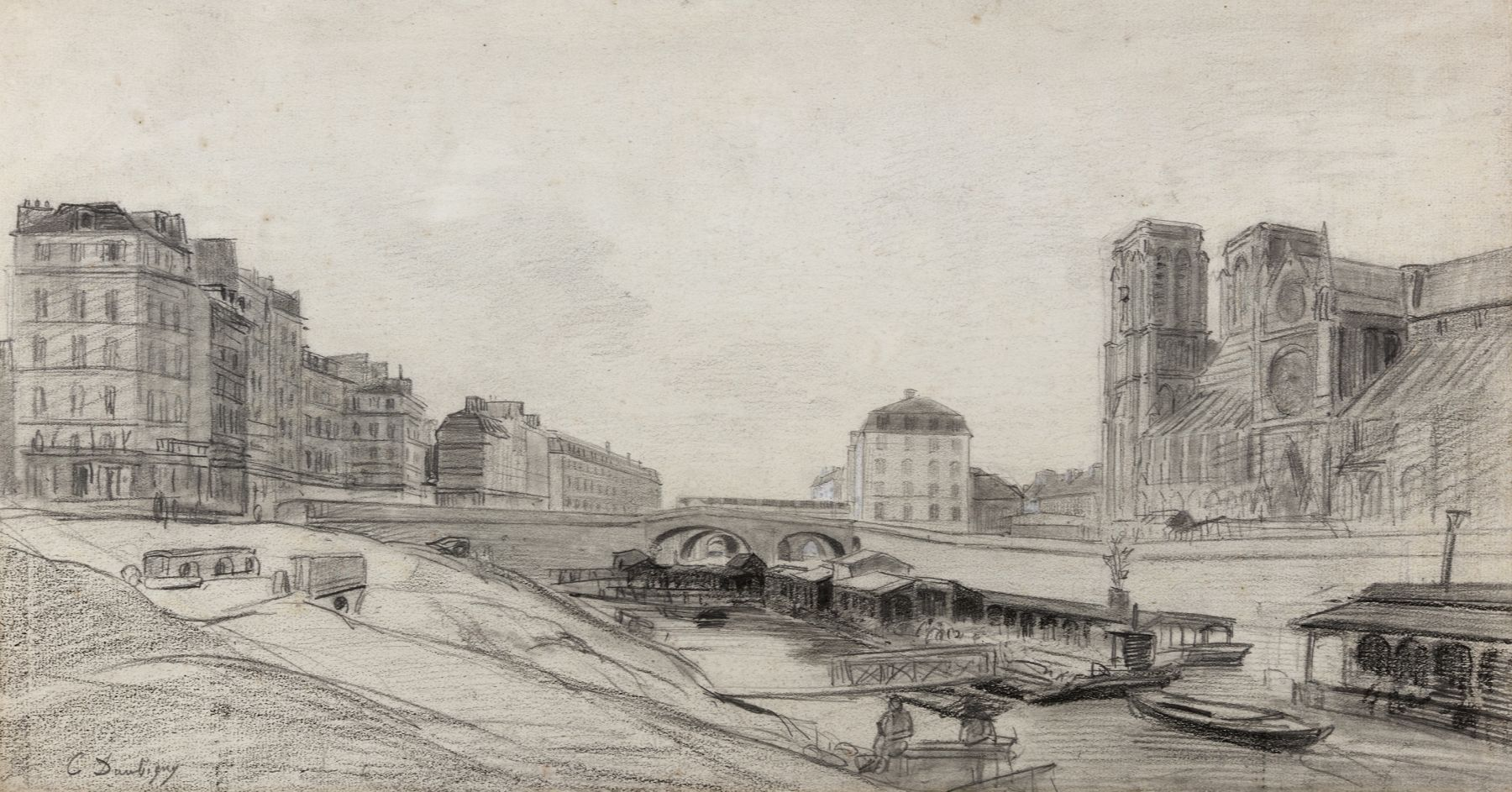 Charles Francois Daubigny, Pont au Double, Notre Dame, and Hôtel Dieu, c. 1840s,  Pencil with white heightening on paper 10 3/4 x 19 5/8 inches