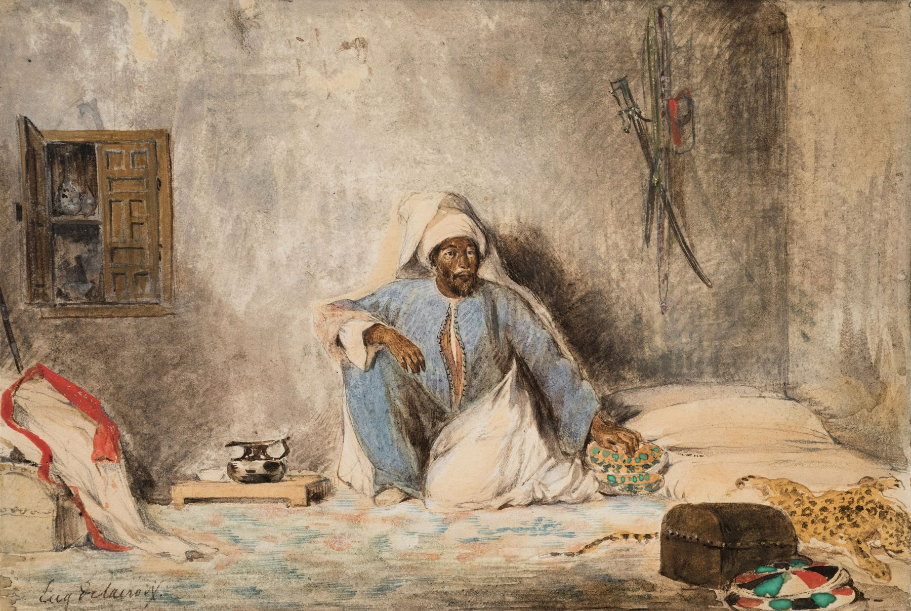 Eugene delacroix Military Chief ben Abou in a Morrocan Interior, 1832    Watercolor on paper 5 3/8 x 8 1/8 inches
