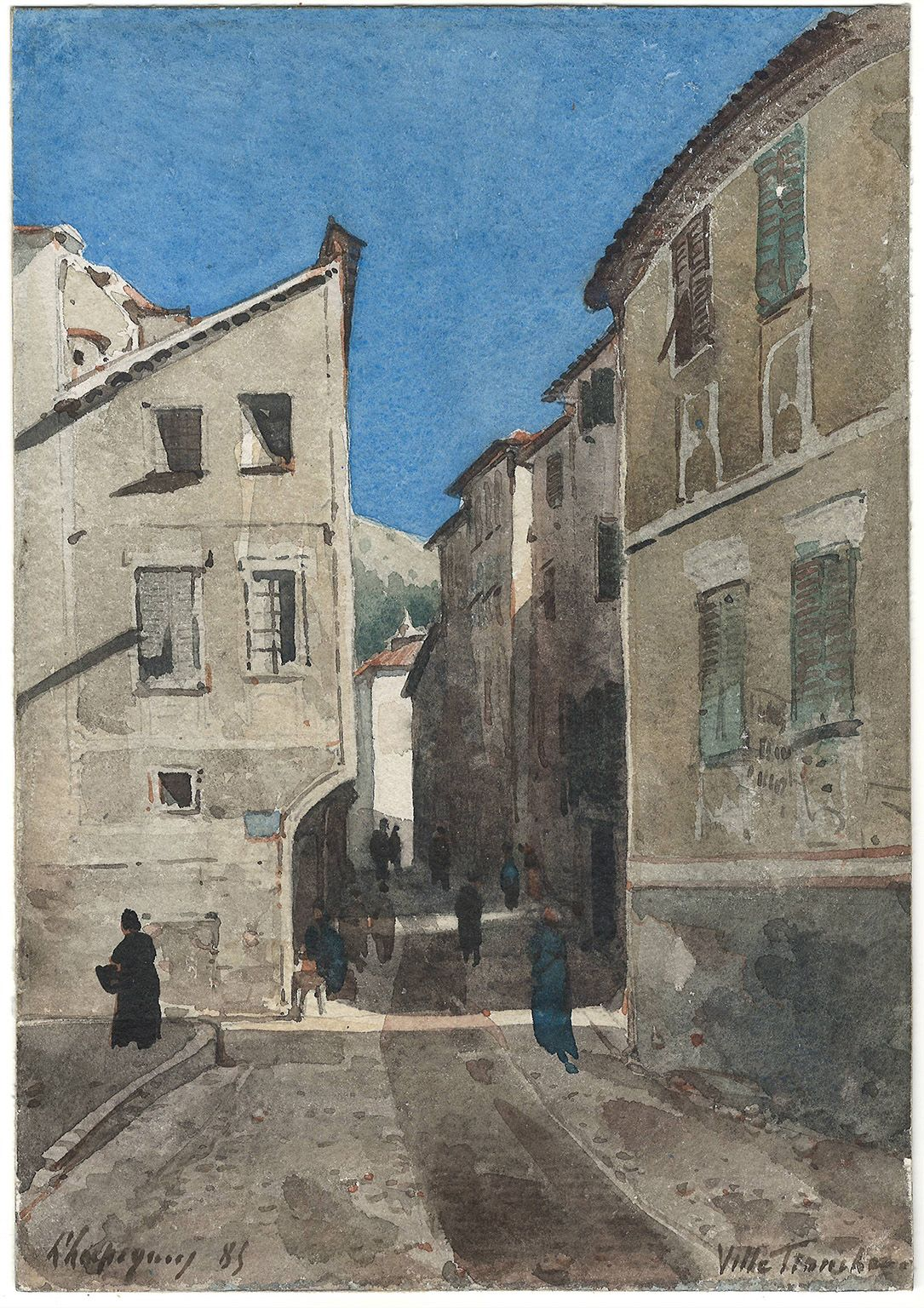 Henri Harpignies  La Rue, Villefranche, 1885  Watercolor on paper 10 1/4 x 7 inches